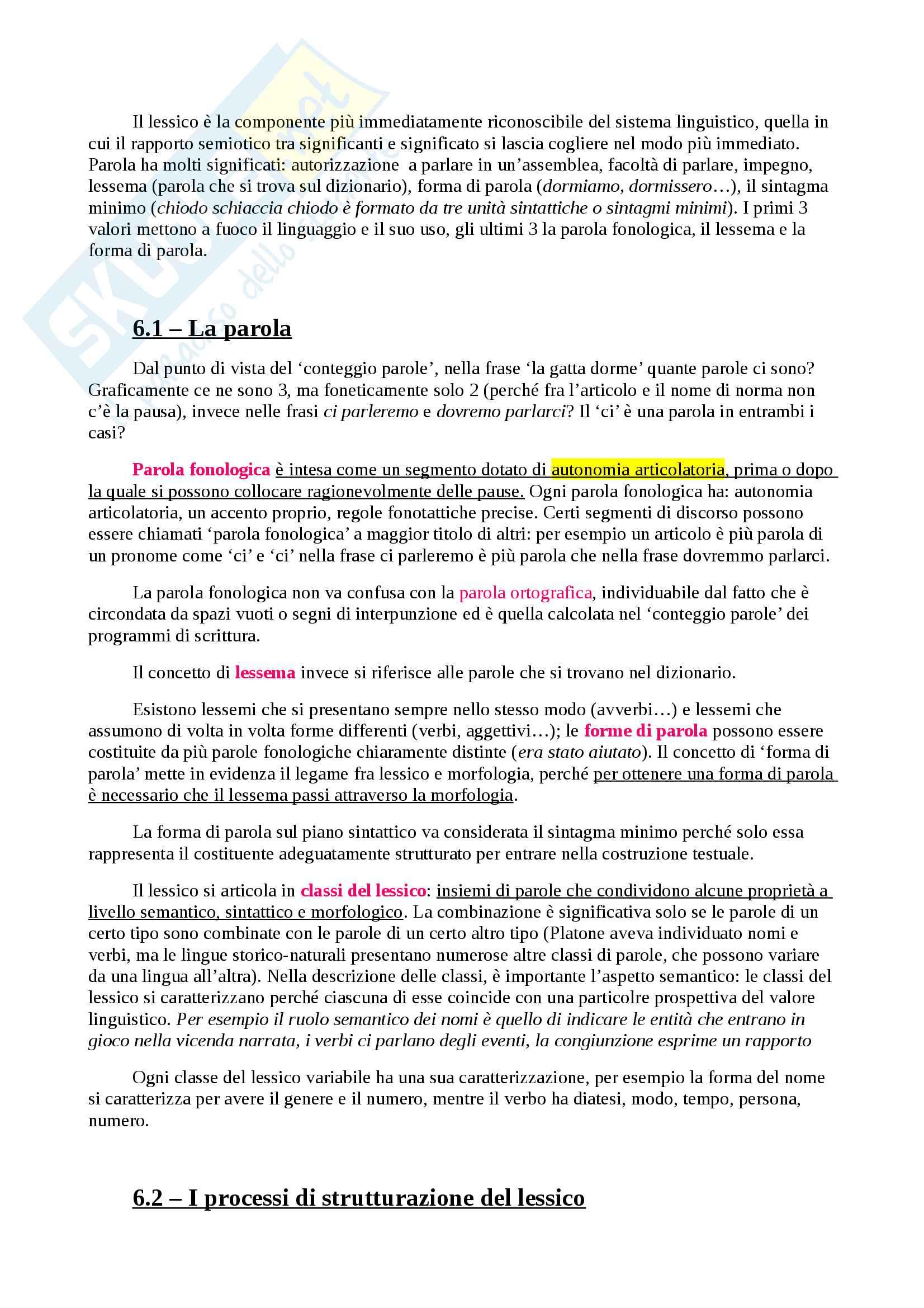 Appunti per Linguistica Generale, prof Gatti, libro consigliato La Comunicazione Verbale, Rigotti e Cigada Pag. 26