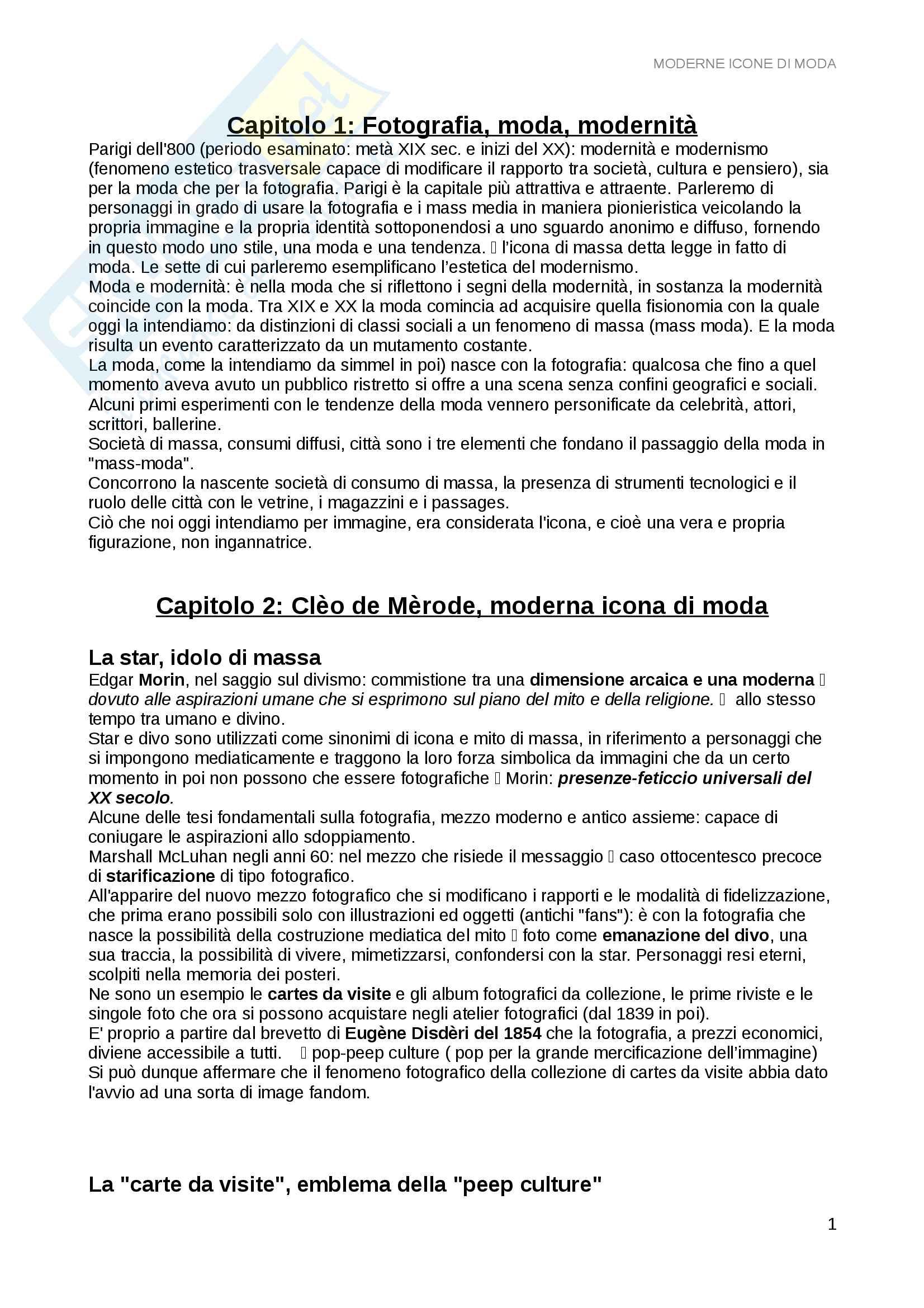 Riassunto esame fotografia di moda, prof.ssa Muzzarelli, libro consigliato Moderne icone di moda, Muzzarelli