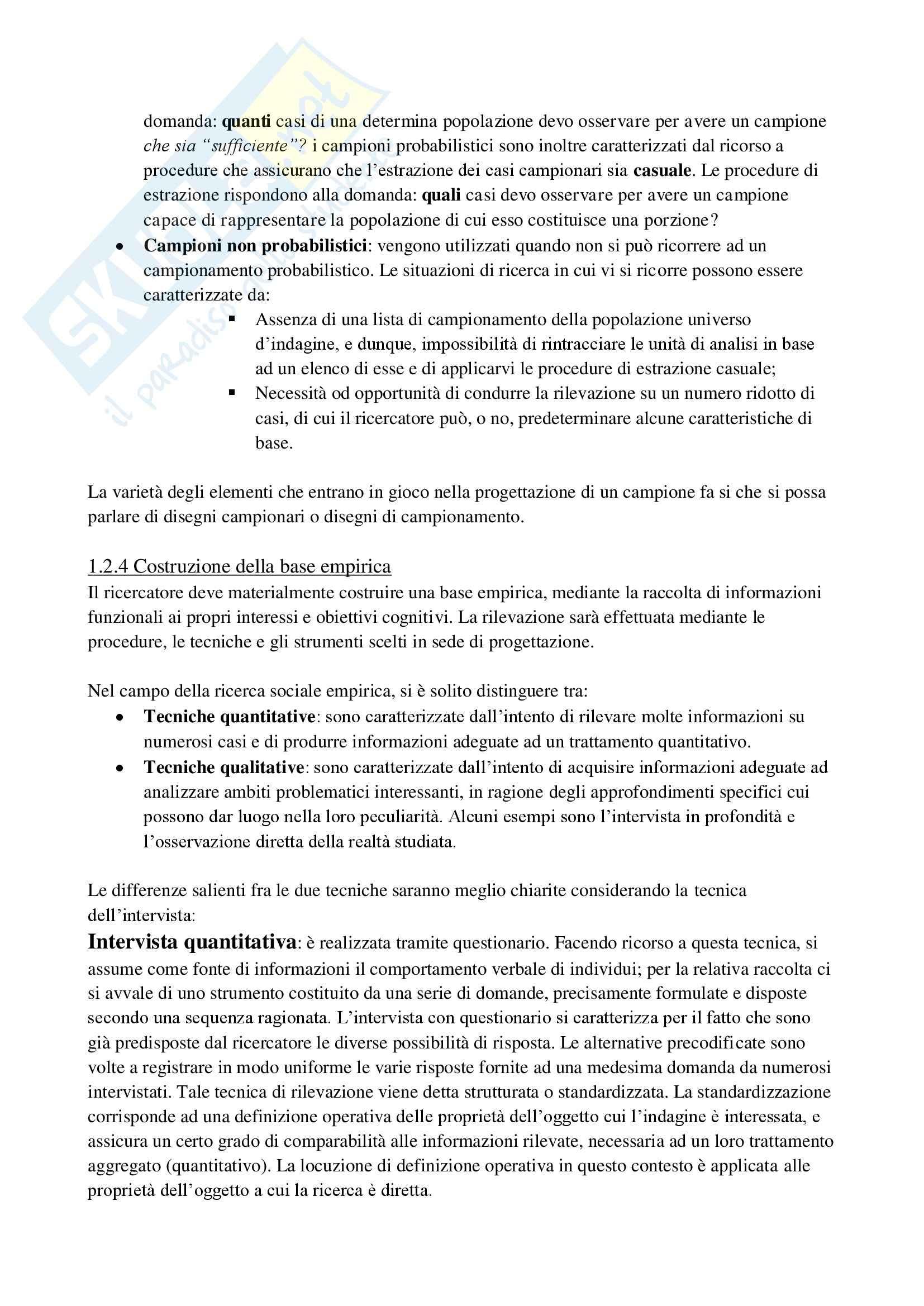 Riassunto esame Metodologia, prof. Fasanella, libro consigliato Il disegno della ricerca sociale, Agnolli Pag. 6