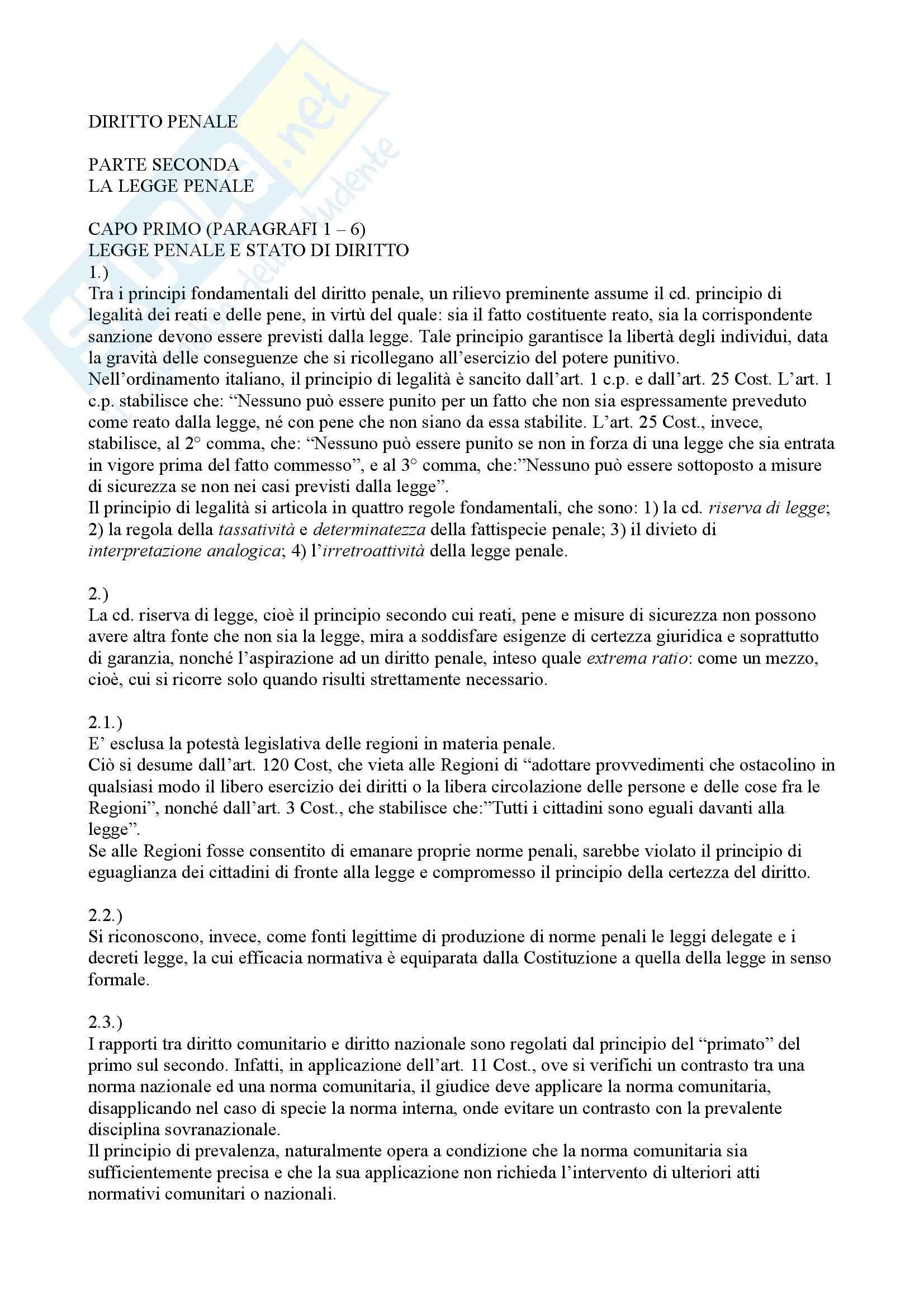 Riassunto esame Diritto Penale, prof. Elio, libro consigliato Diritto Penale, Fiore