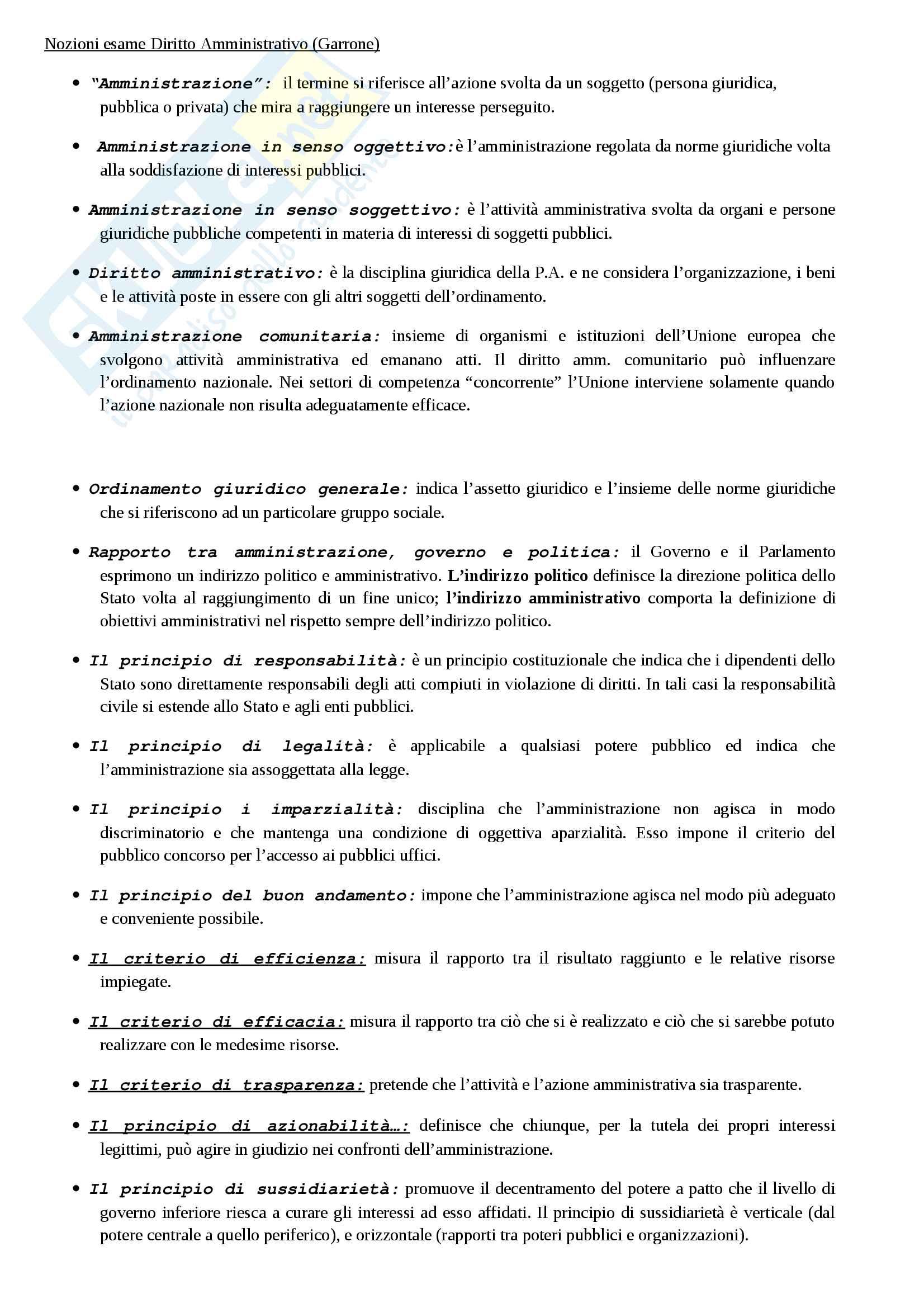 Nozioni generali di diritto amministrativo