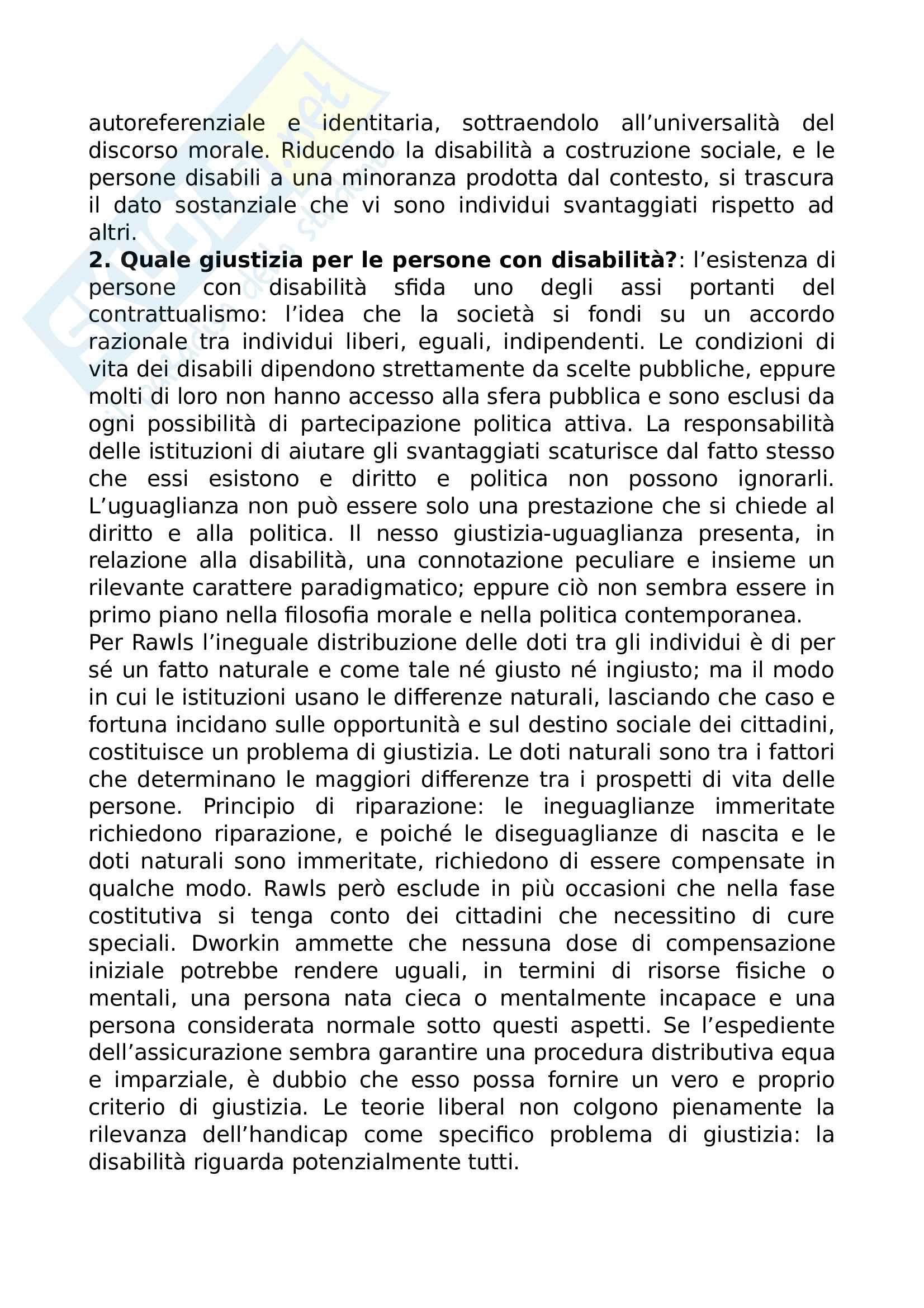 Riassunto esame Bioetica, prof. Marianna Gensabella, libro consigliato Persone prime che disabili, Zanichelli Pag. 2