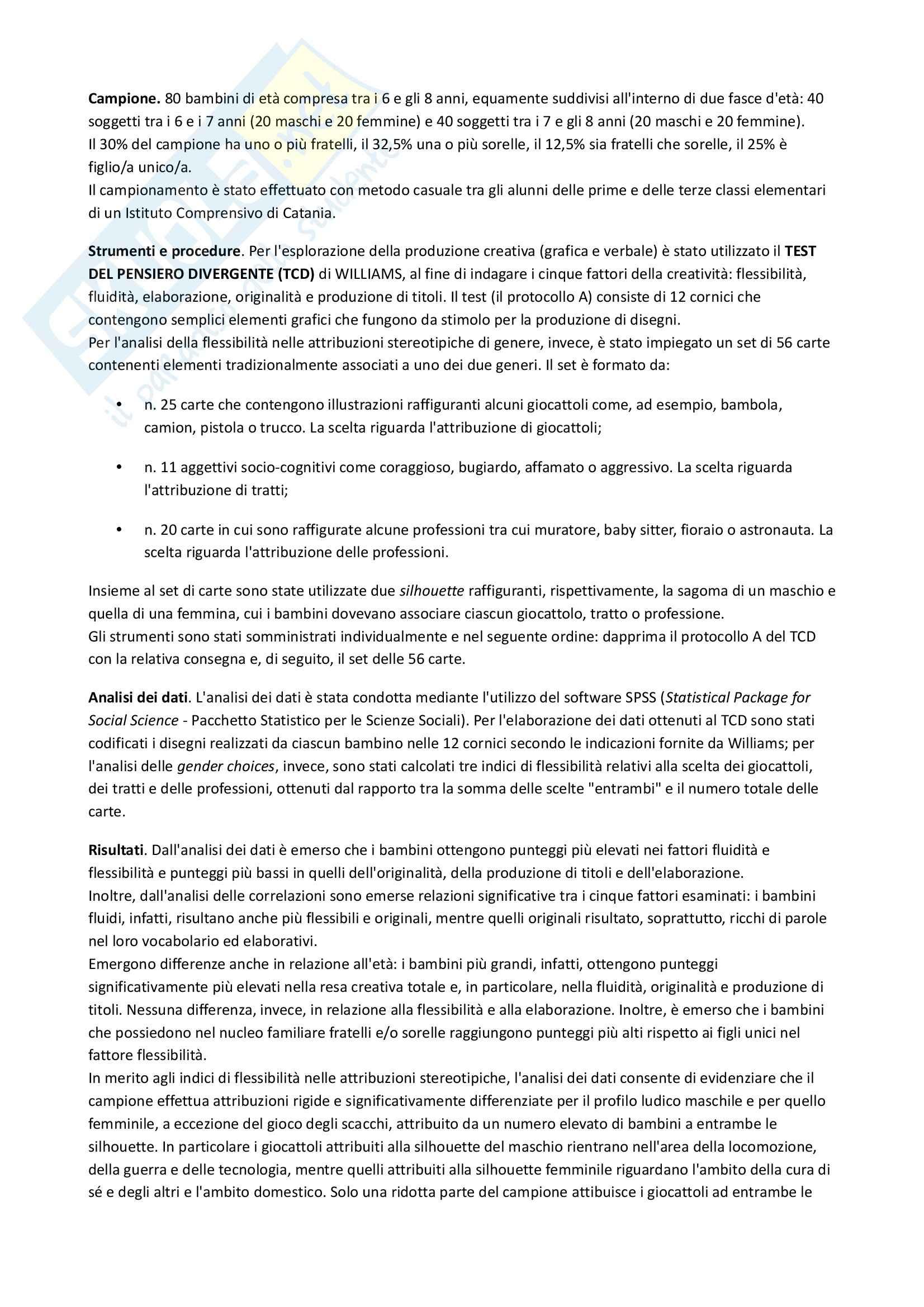 Riassunto esame Psicologia dello Sviluppo, prof. De Caroli, libro consigliato Pensare, Essere, Fare... Creativamente, De Caroli Pag. 11