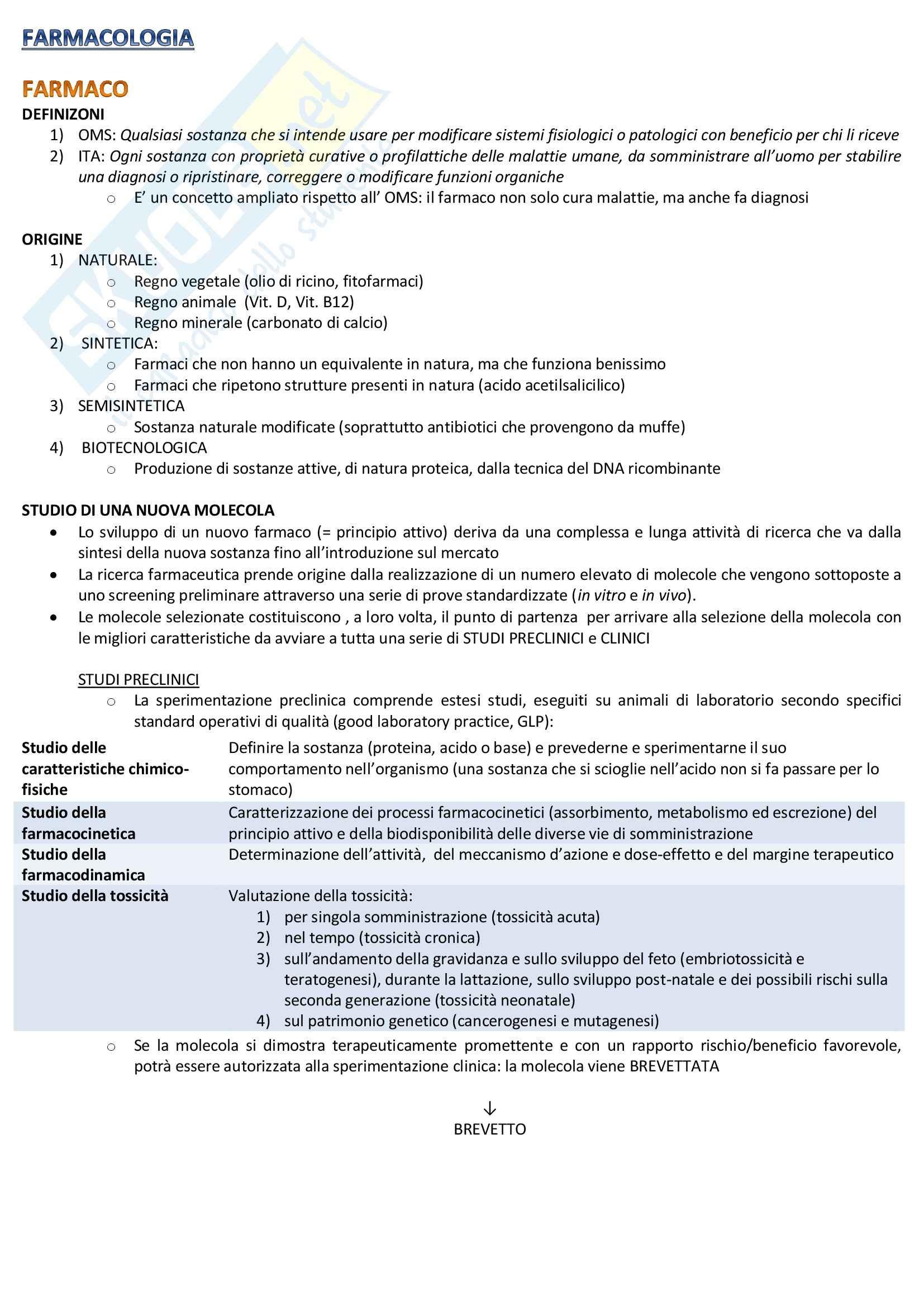 Farmacologia - Appunti