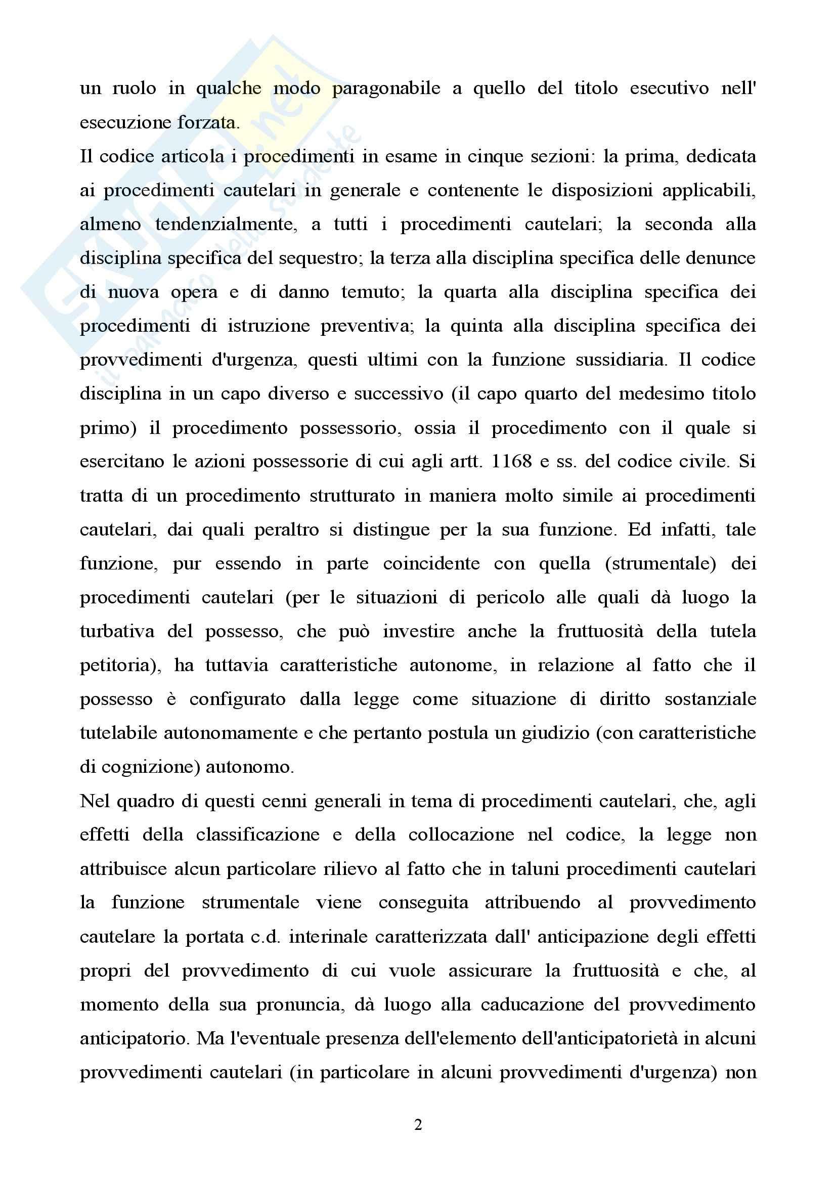 Diritto processuale civile II - procedimenti cautelari Pag. 2