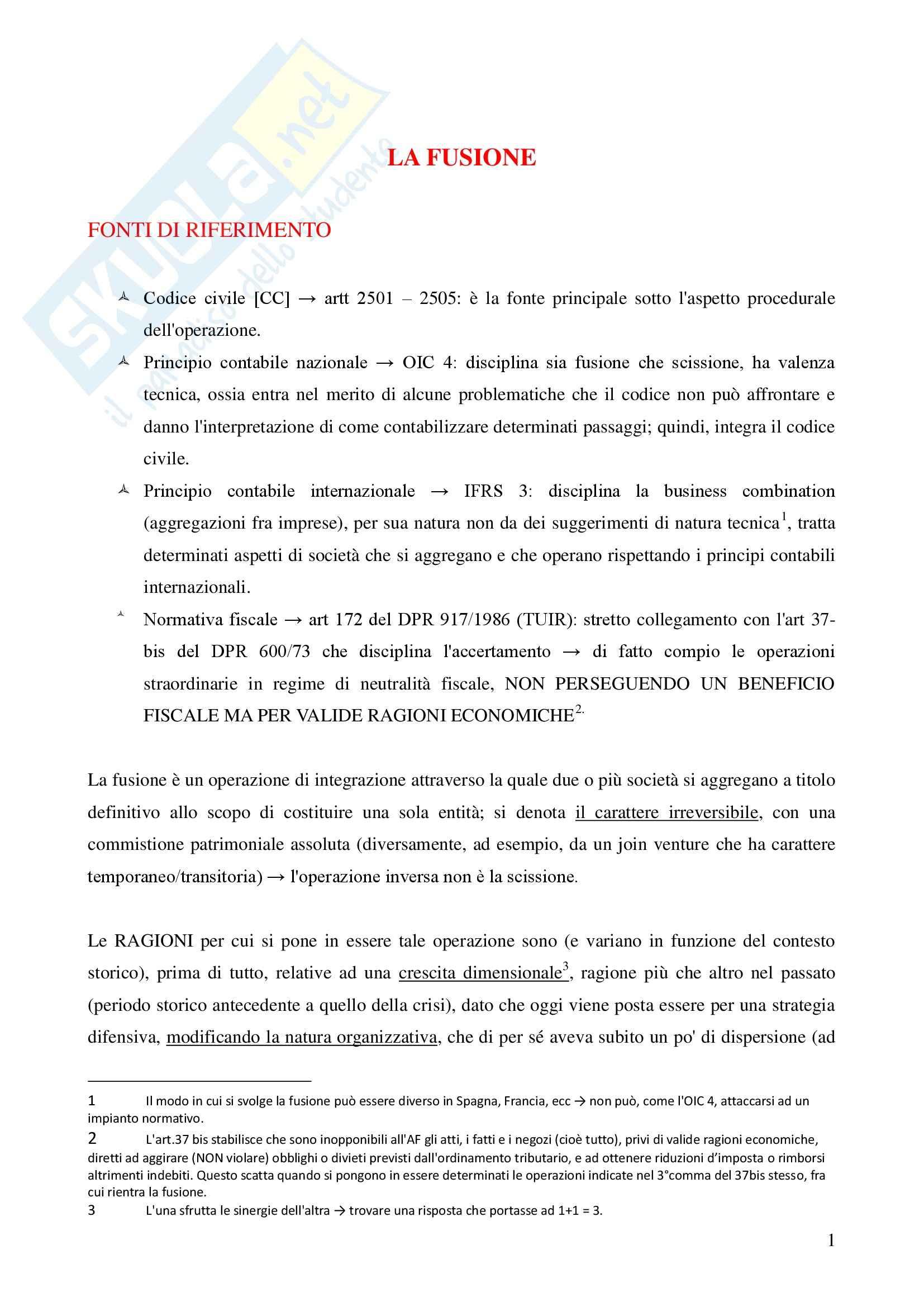 Riassunto esame Operazioni Straordinarie, prof. Fazzini, libro consigliato Operazioni Straordinarie, A. A. V. V.