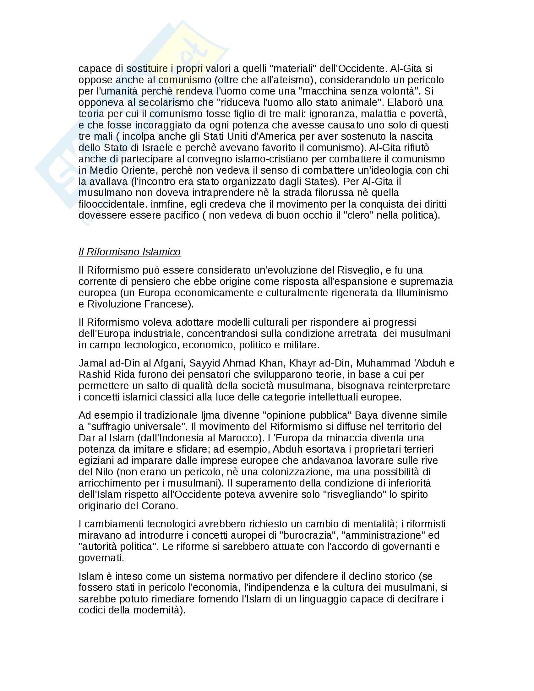 Riassunto esame di Islamistica, prof. Tottoli, libro consigliato dal professore Radicalismo Islamico, Tacchini Pag. 2