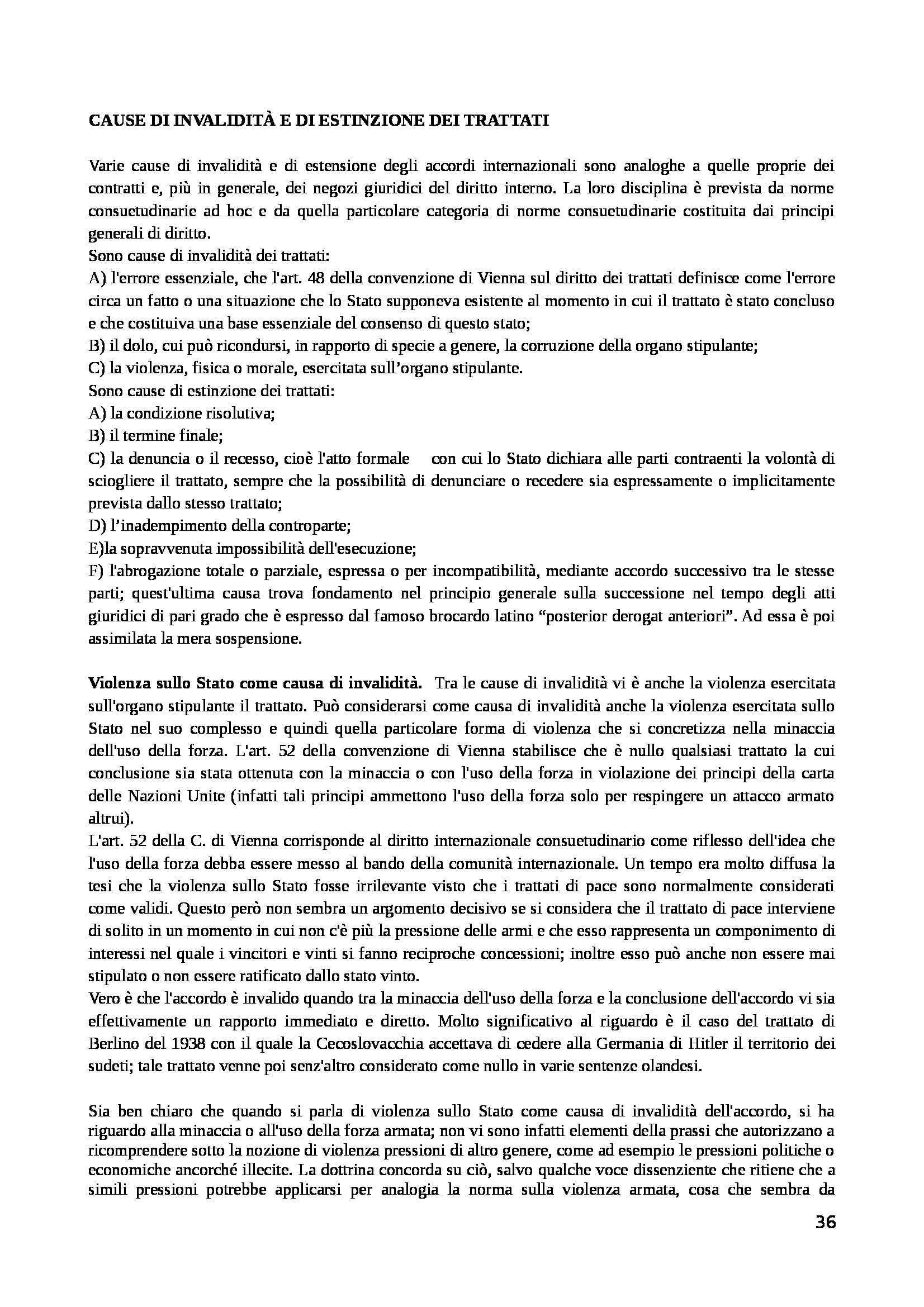 Riassunto esame Diritto Internazionale, prof. Mancini, libro consigliato Diritto Internazionale, Conforti Pag. 36