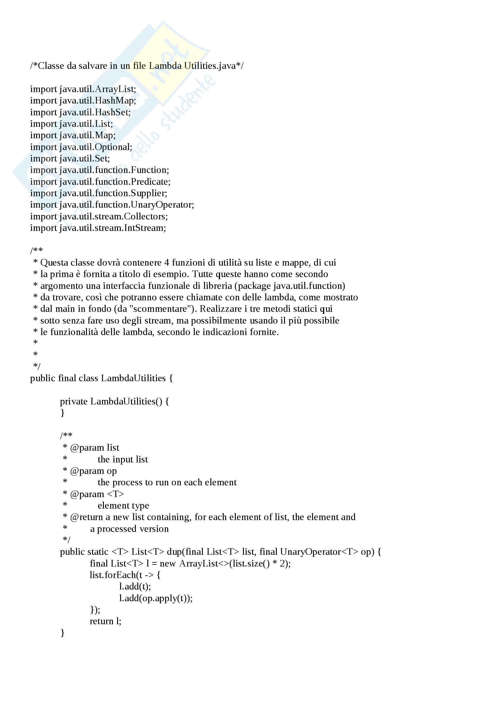 Java - Utilizzo Lambda Expression - Esercitazione Svolta 1