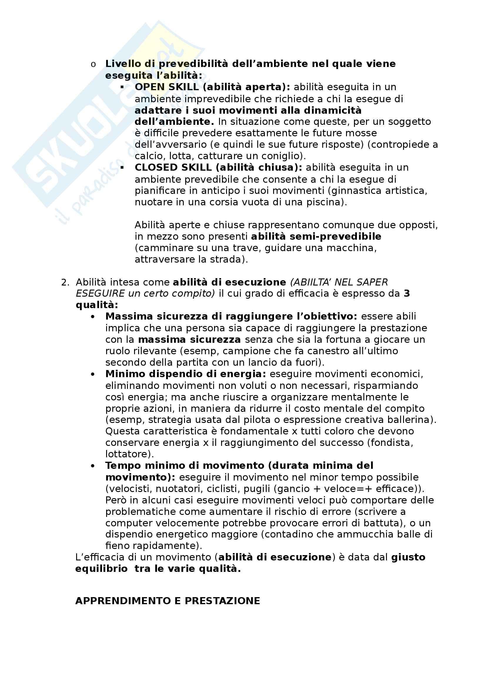 Riassunto esame Metodologia del movimento umano, prof. Bensi, libro consigliato Apprendimento motorio e prestazione, Schmidt - Wrisberg Pag. 2