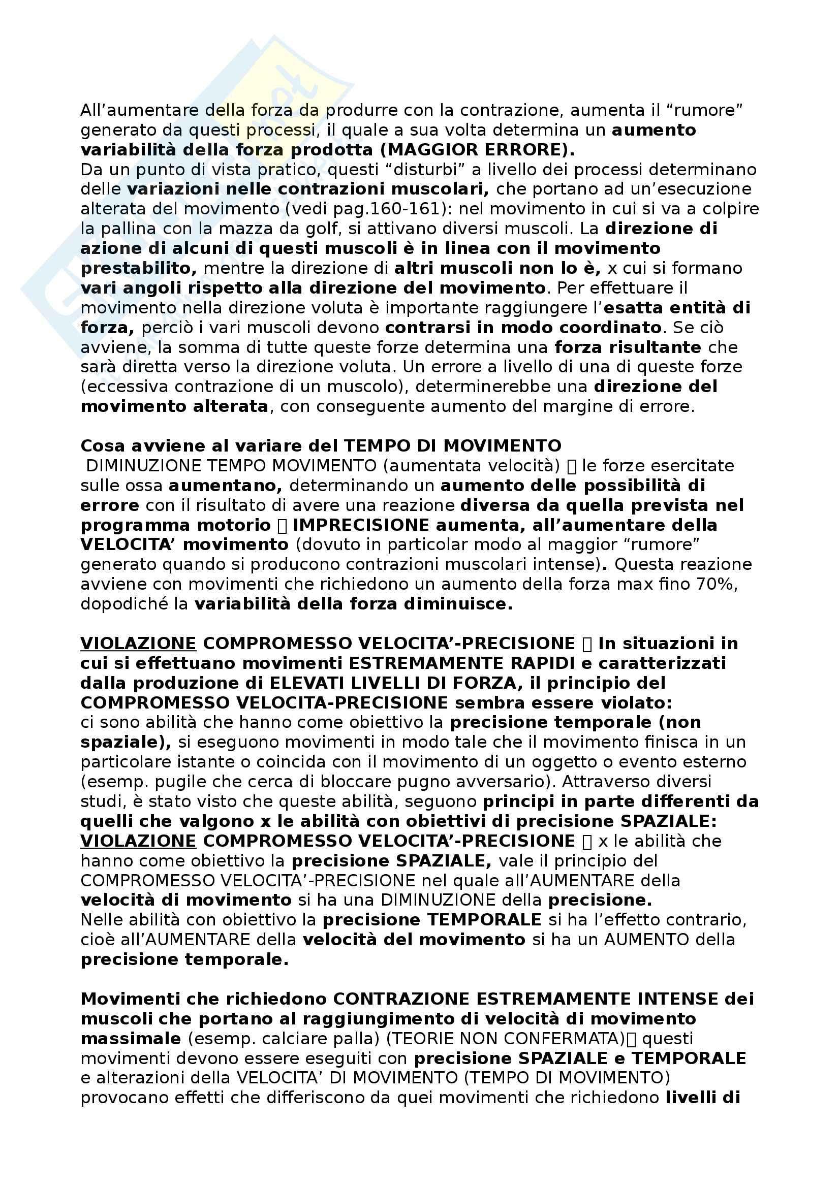 Riassunto esame Metodologia del movimento umano, prof. Bensi, libro consigliato Apprendimento motorio e prestazione, Schmidt - Wrisberg Pag. 26