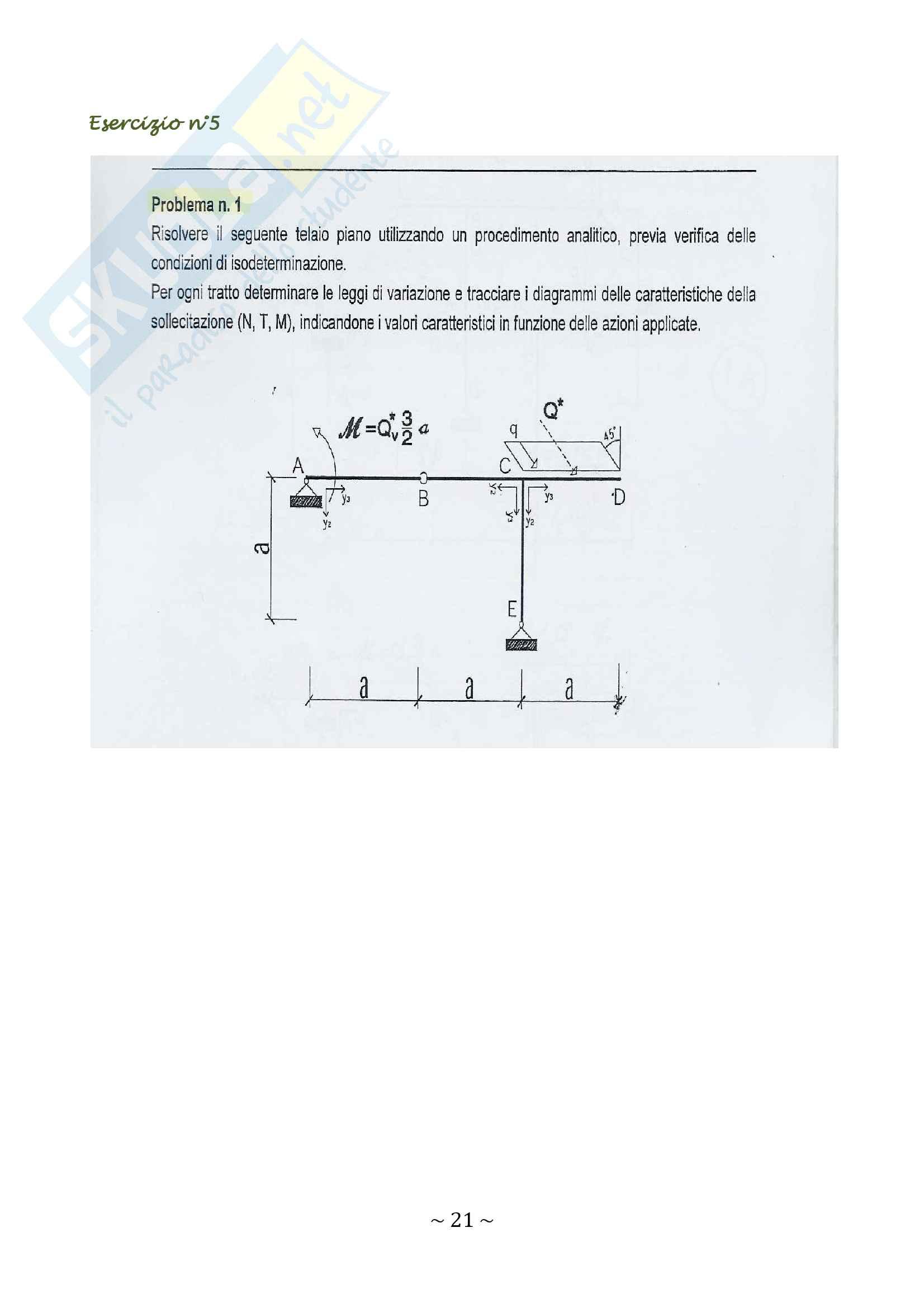 27 esercizi svolti di scienza delle costruzioni, strutture isostatiche Pag. 21