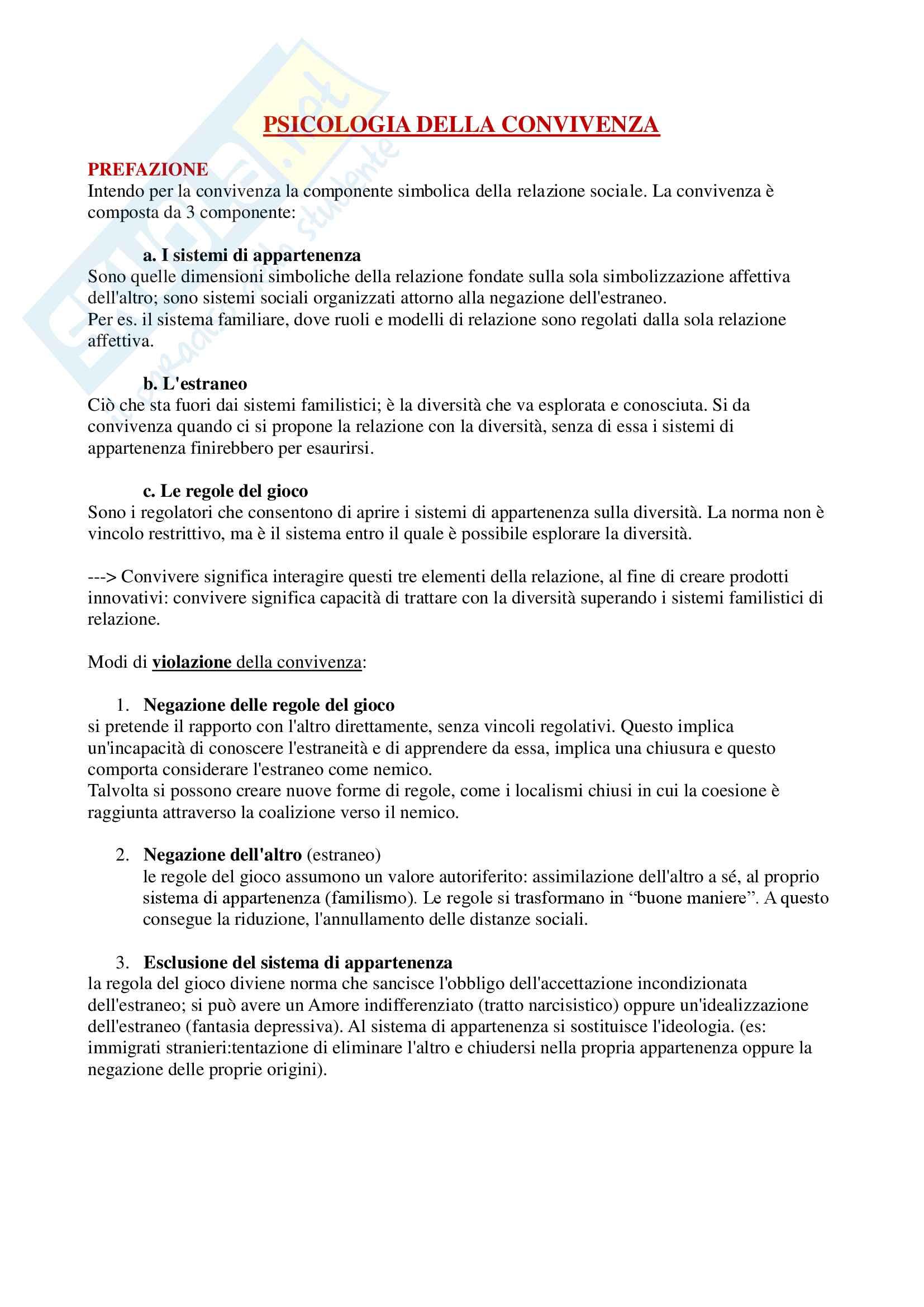 Riassunto esame psicologia interculturale e gestione delle risorse umane, docente Gozzoli, libro consigliato Psicologia della Convivenza, Franco di Maria