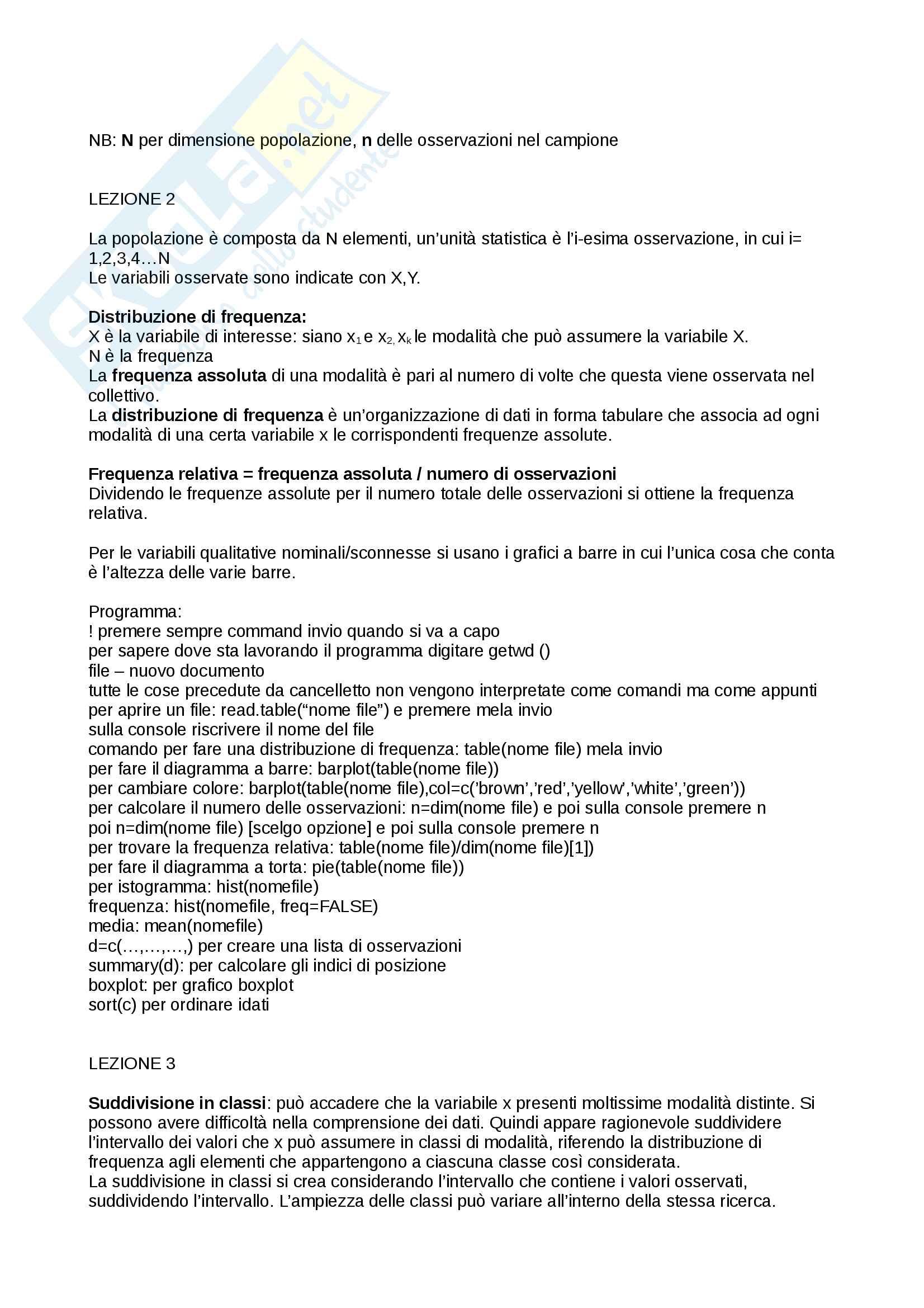 Statistica e metodologia della ricerca Pag. 2