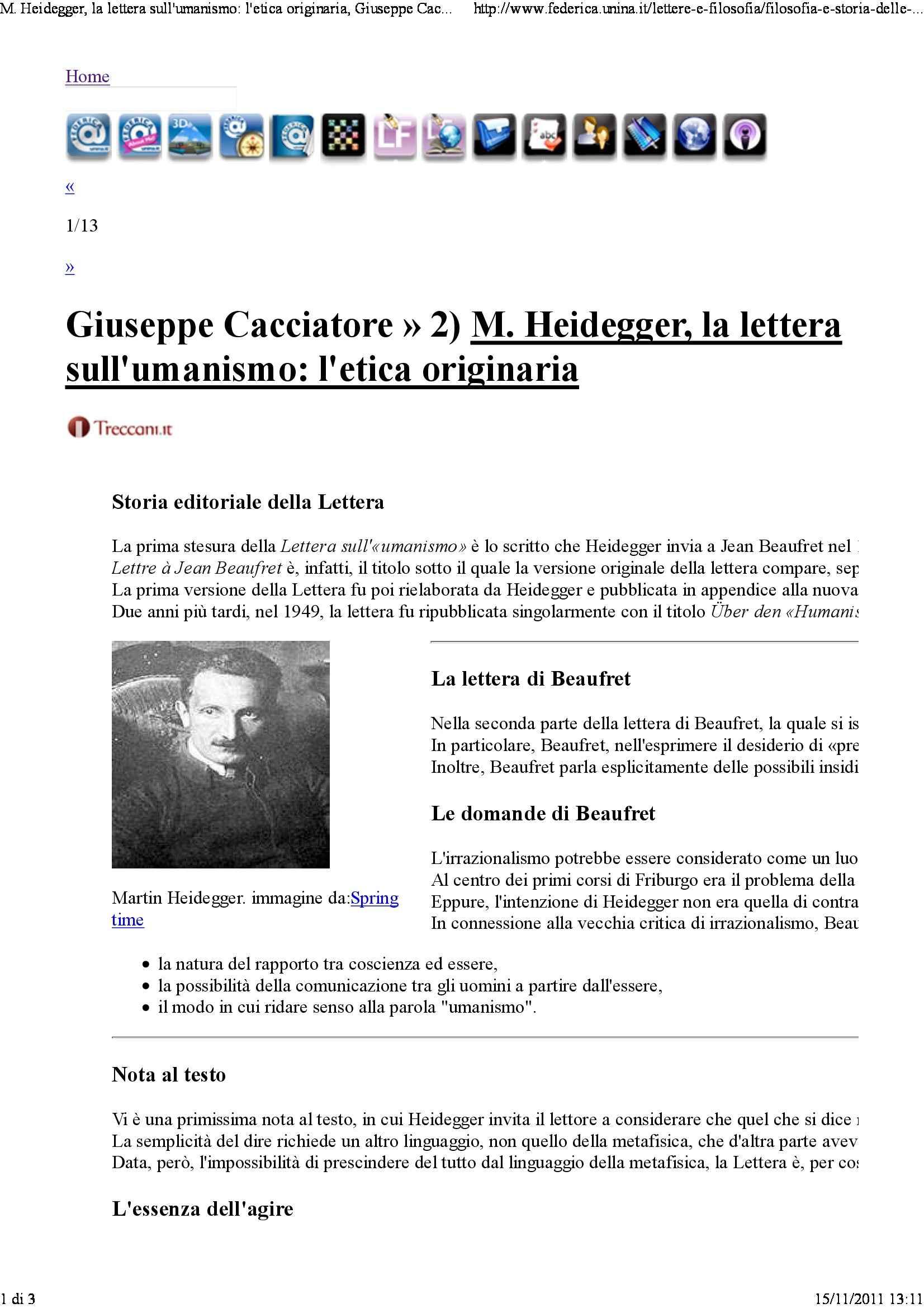 Heidegger, la lettera sull'umanesimo