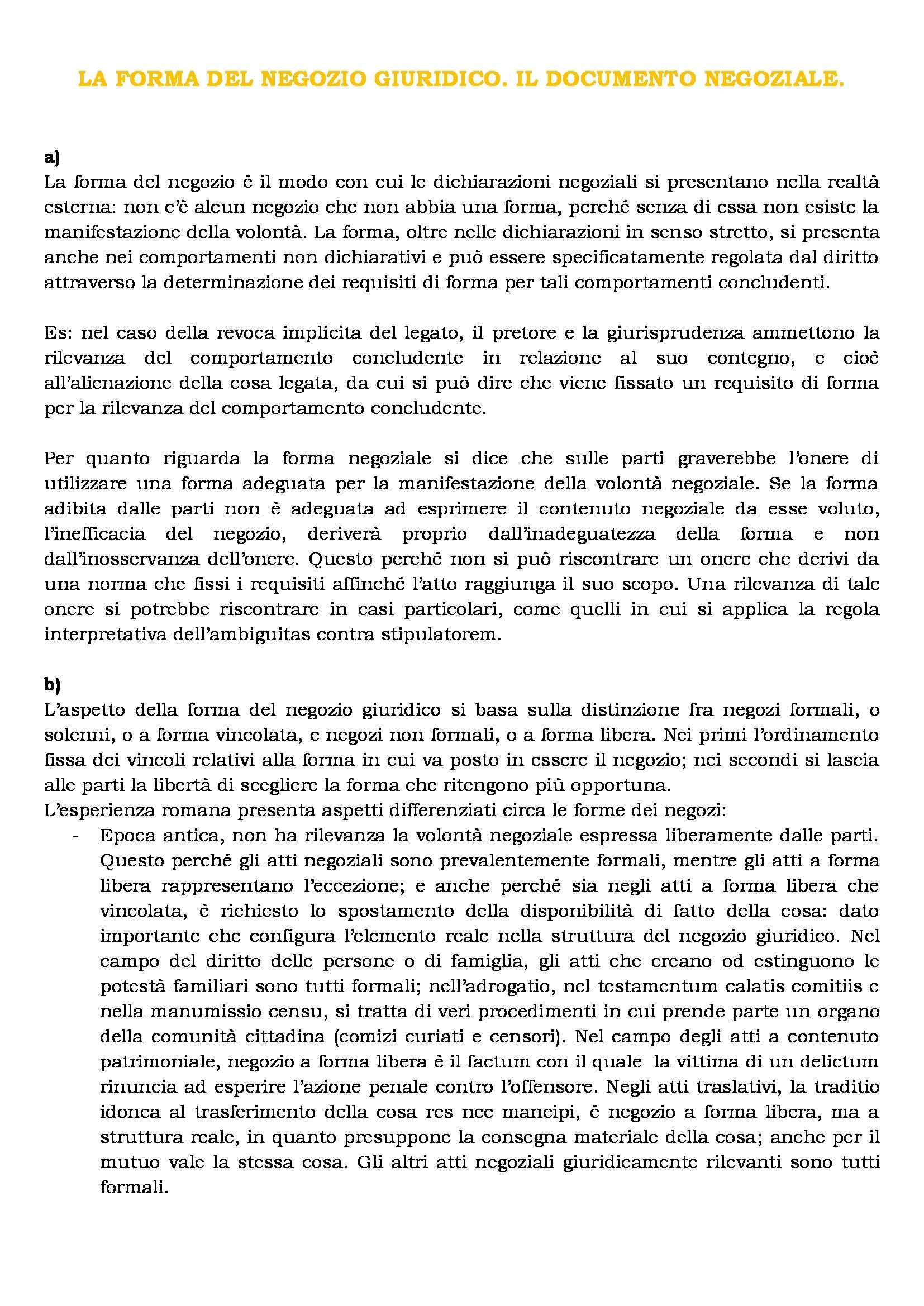 Istituzioni di diritto romano - la forma del negozio giuridico