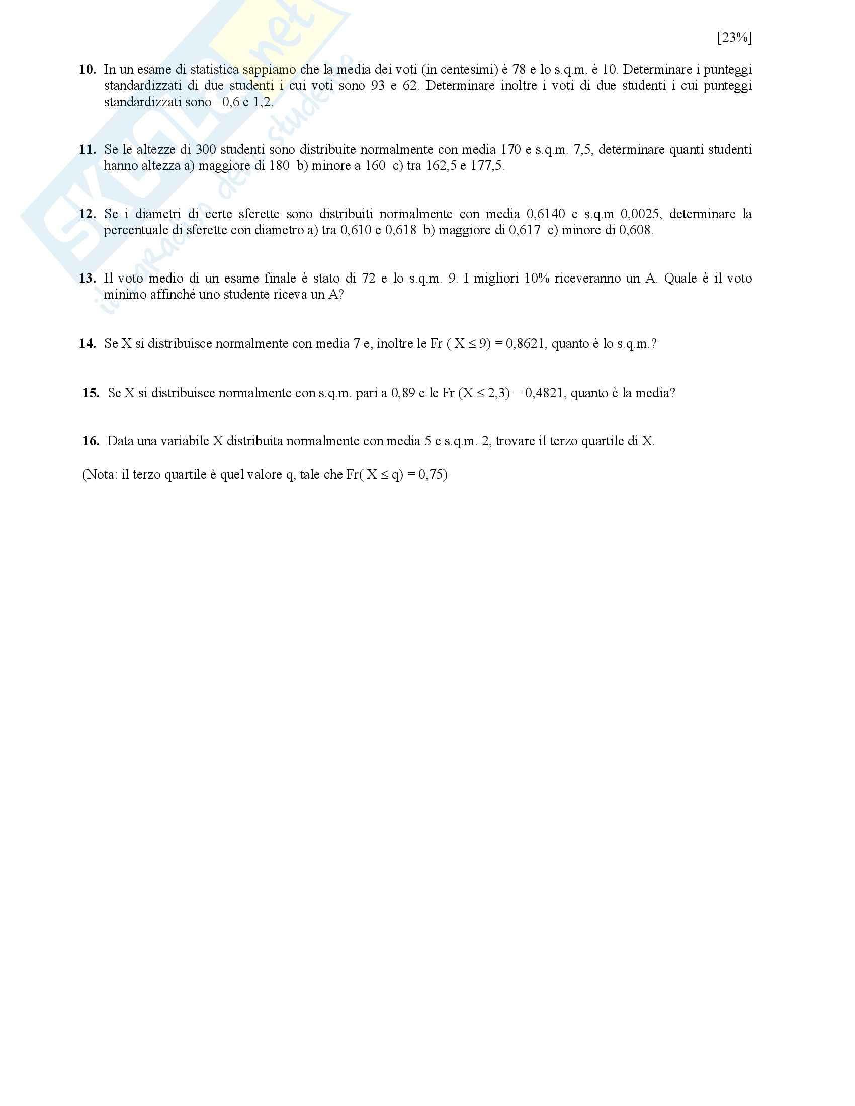 Statistica – Esercizi Pag. 11