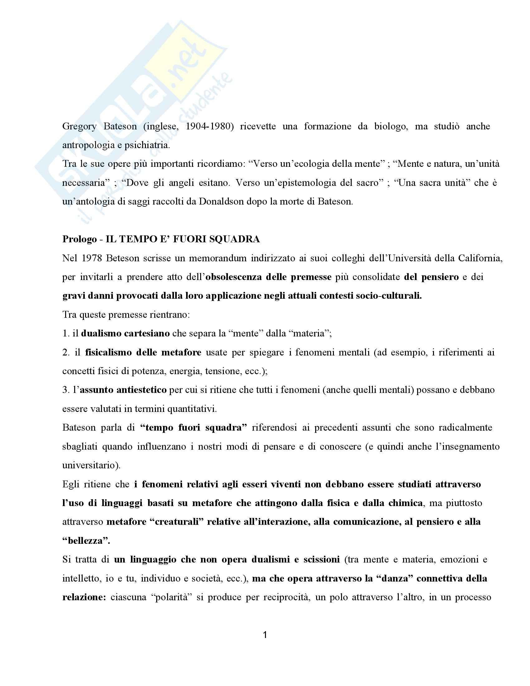 Riassunto esame Pedagogia generale, prof. Formenti, libro consigliato La conoscenza ecologica Attualità di Gregory Bateson, Manghi