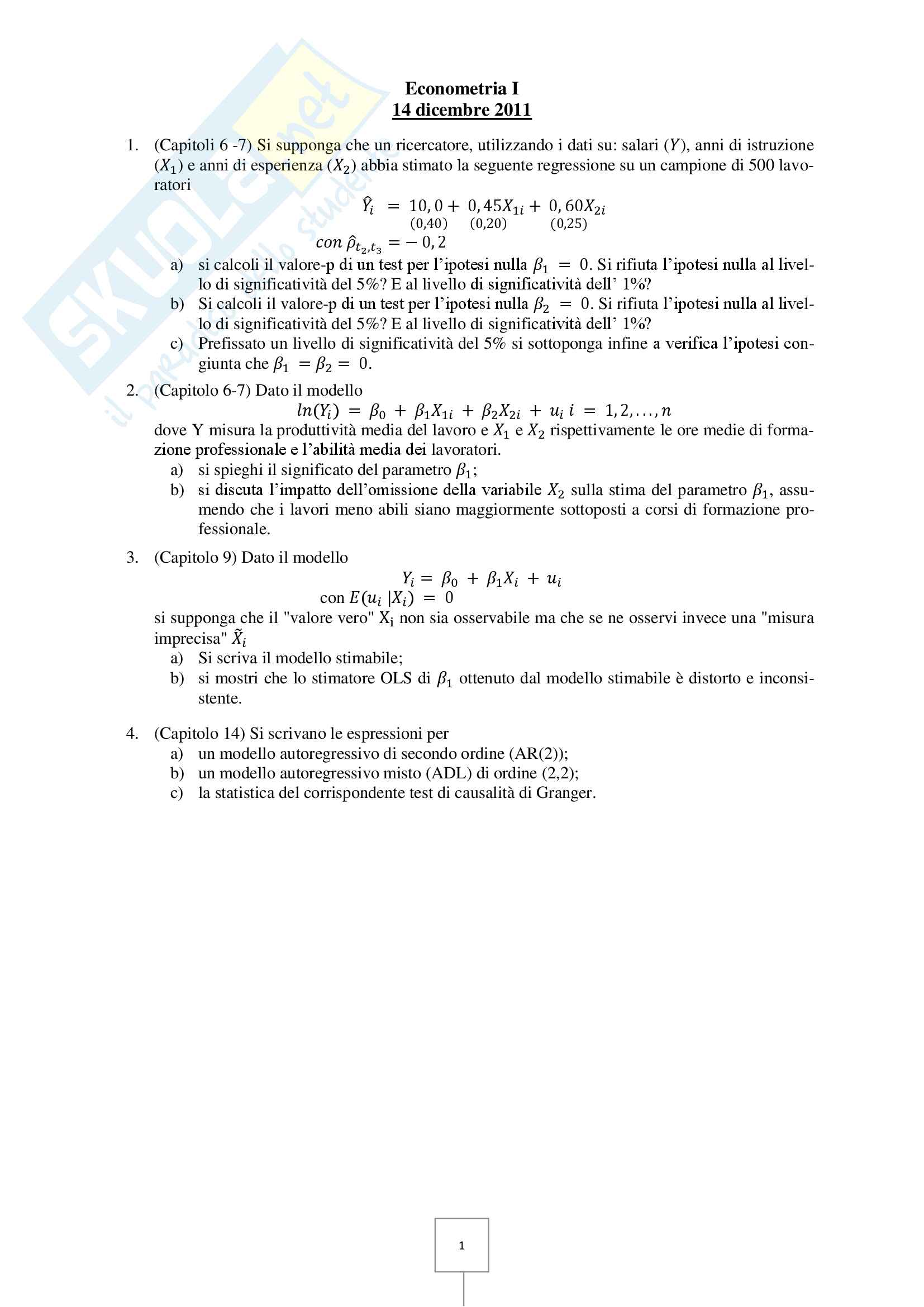 Econometria - Prove d'esame risolte