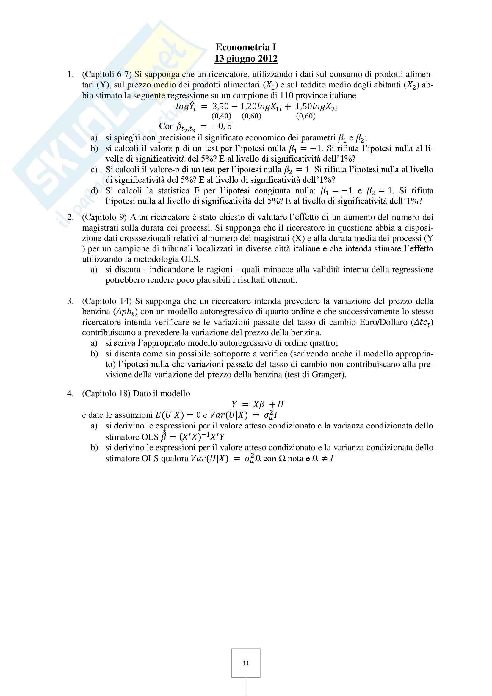Econometria - Prove d'esame risolte Pag. 11