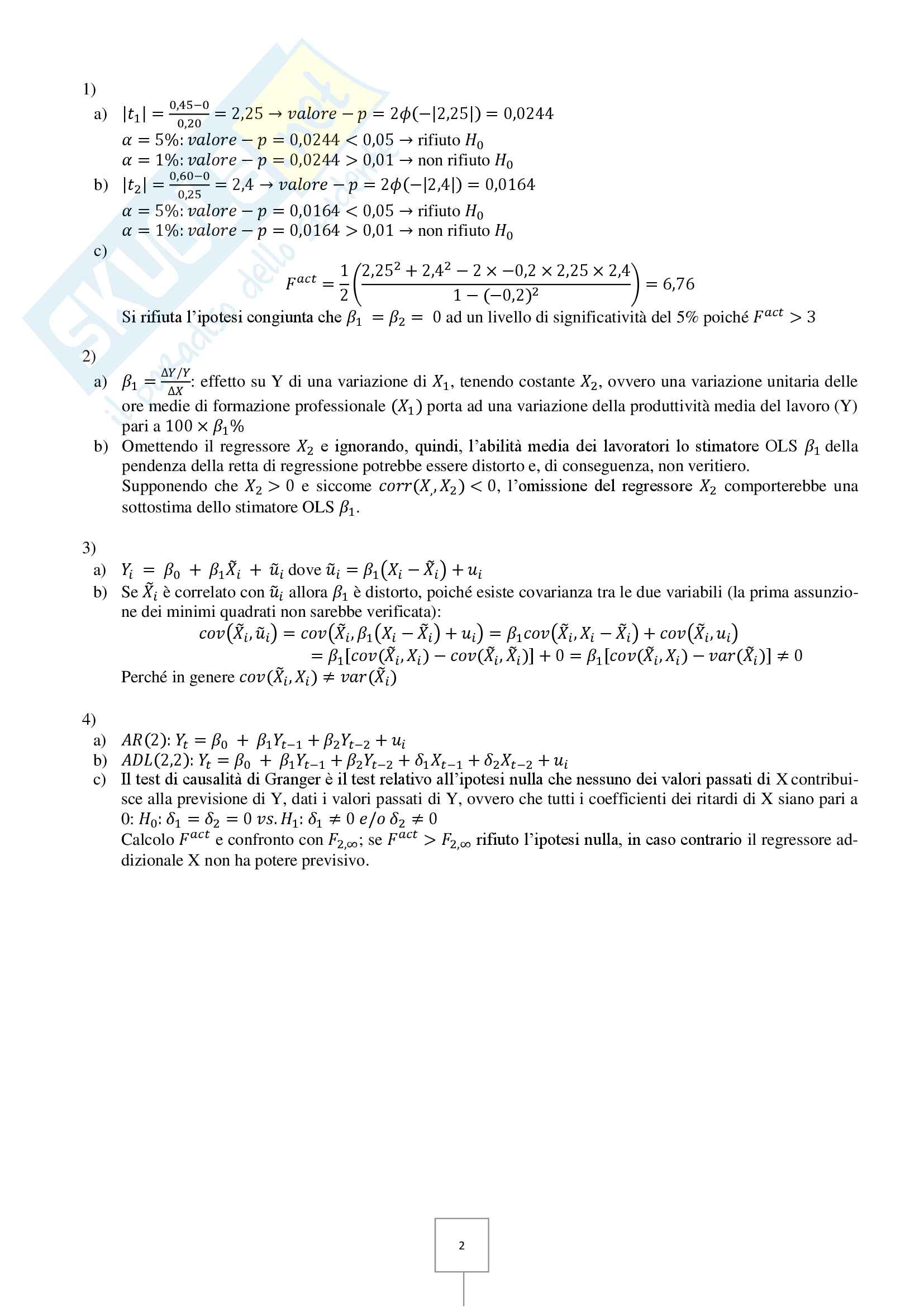 Econometria - Prove d'esame risolte Pag. 2