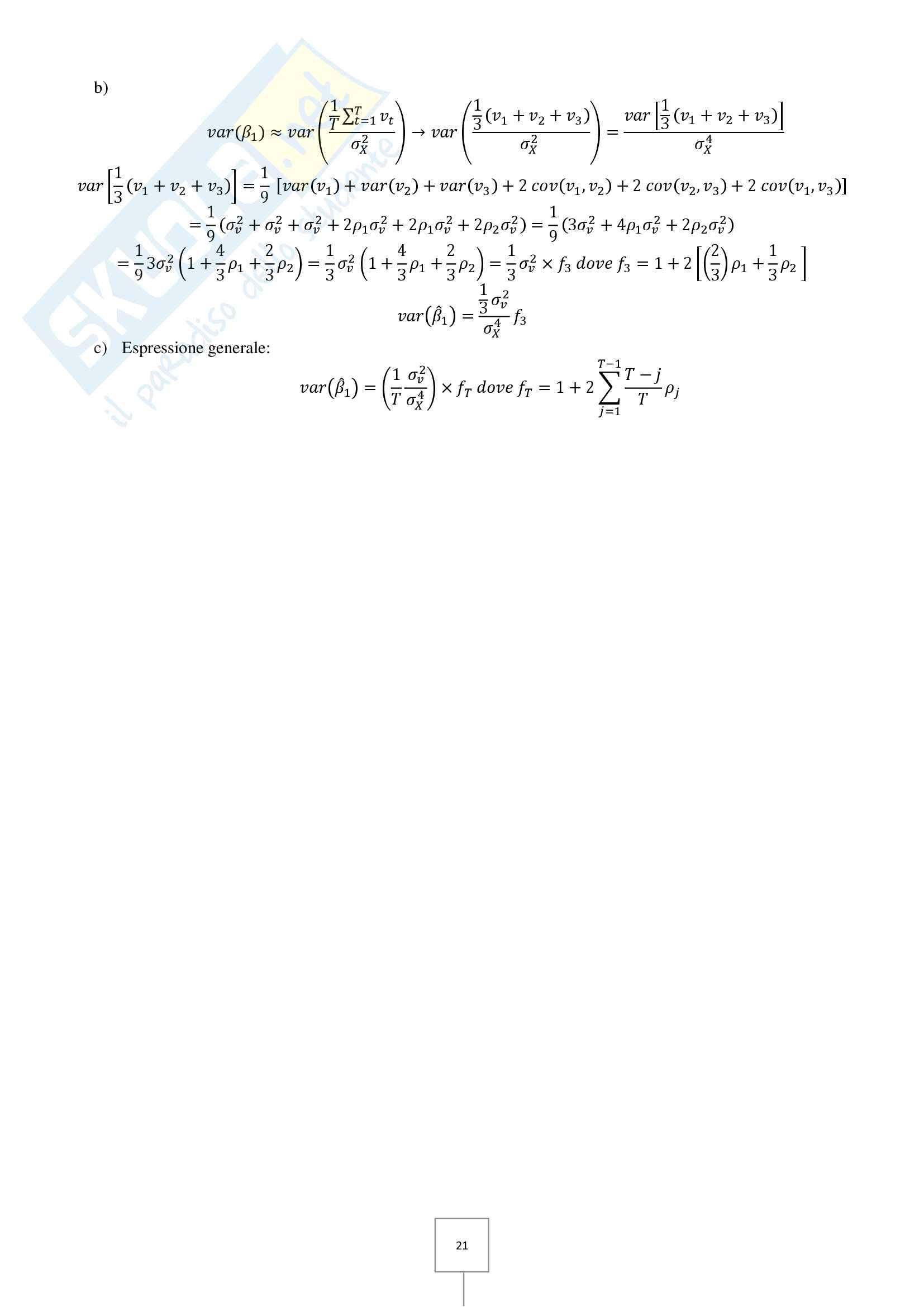 Econometria - Prove d'esame risolte Pag. 21