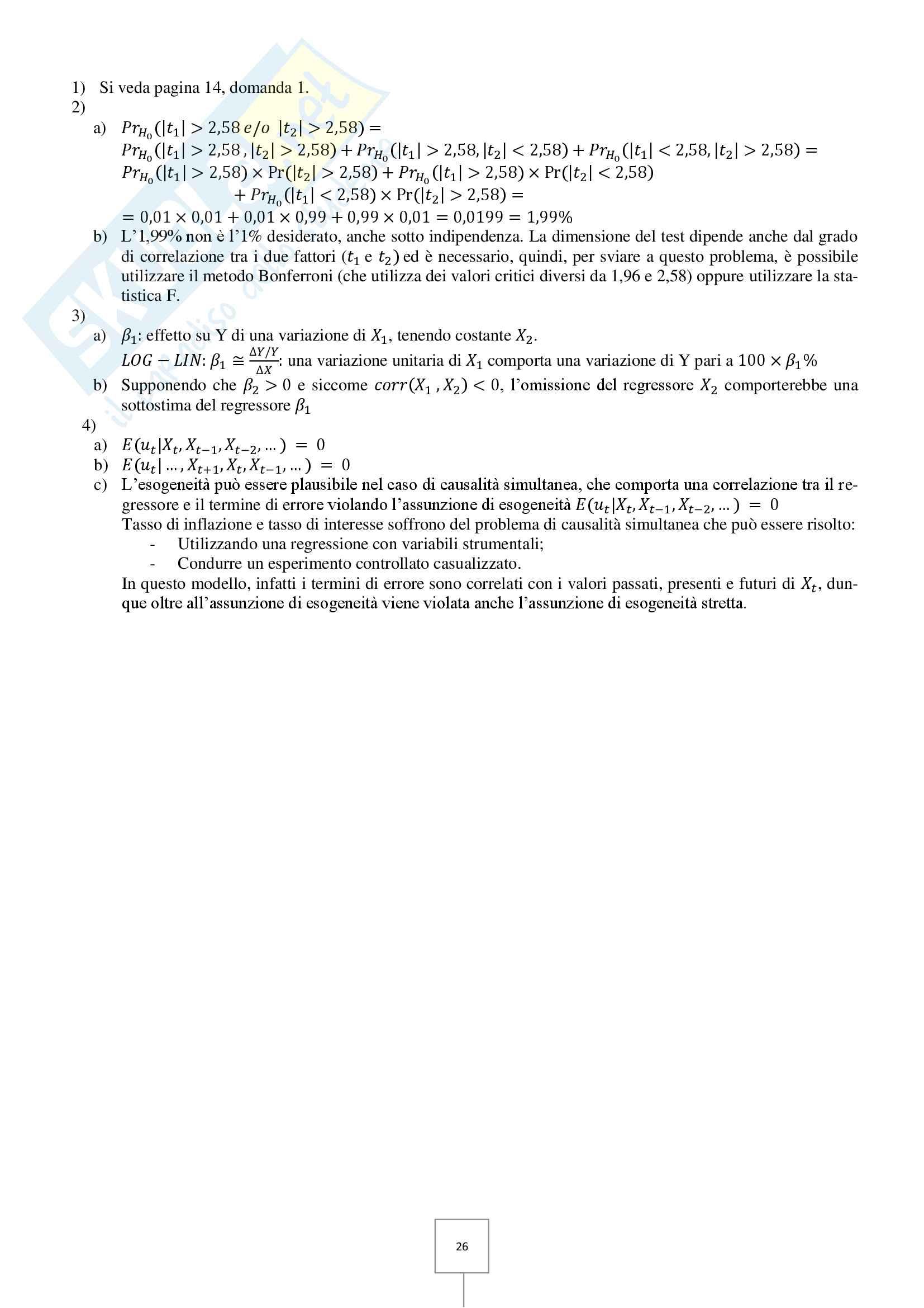Econometria - Prove d'esame risolte Pag. 26