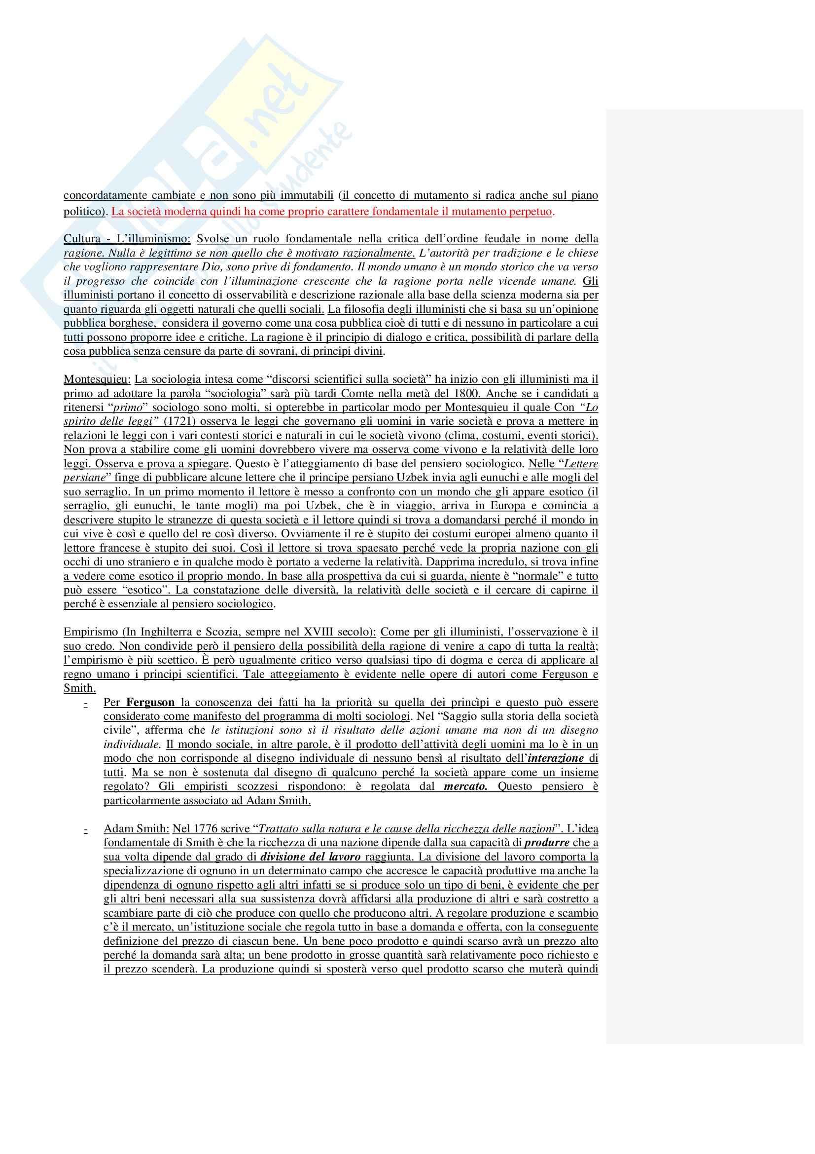 Riassunto esame Sociologia Generale, prof. Moro, libro consigliato Il Mondo in Questione di Jedlowski Pag. 2