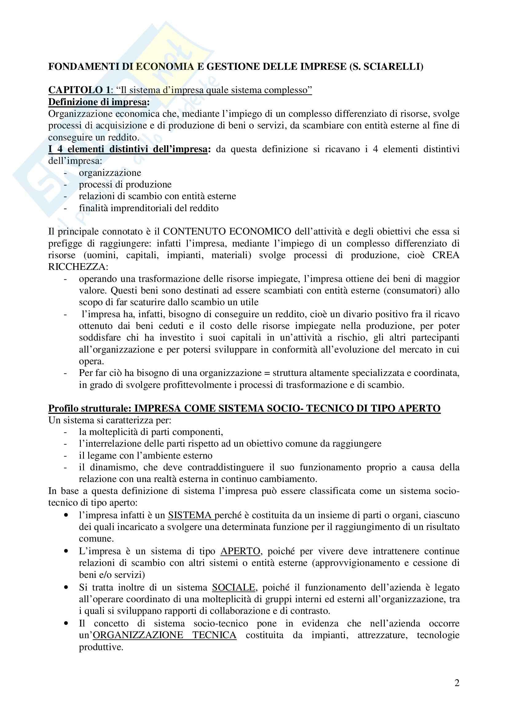 Riassunto esame Economia e gestione delle imprese, prof. Calza, libro consigliato Fondamenti di economia e gestione delle imprese, Sciarelli