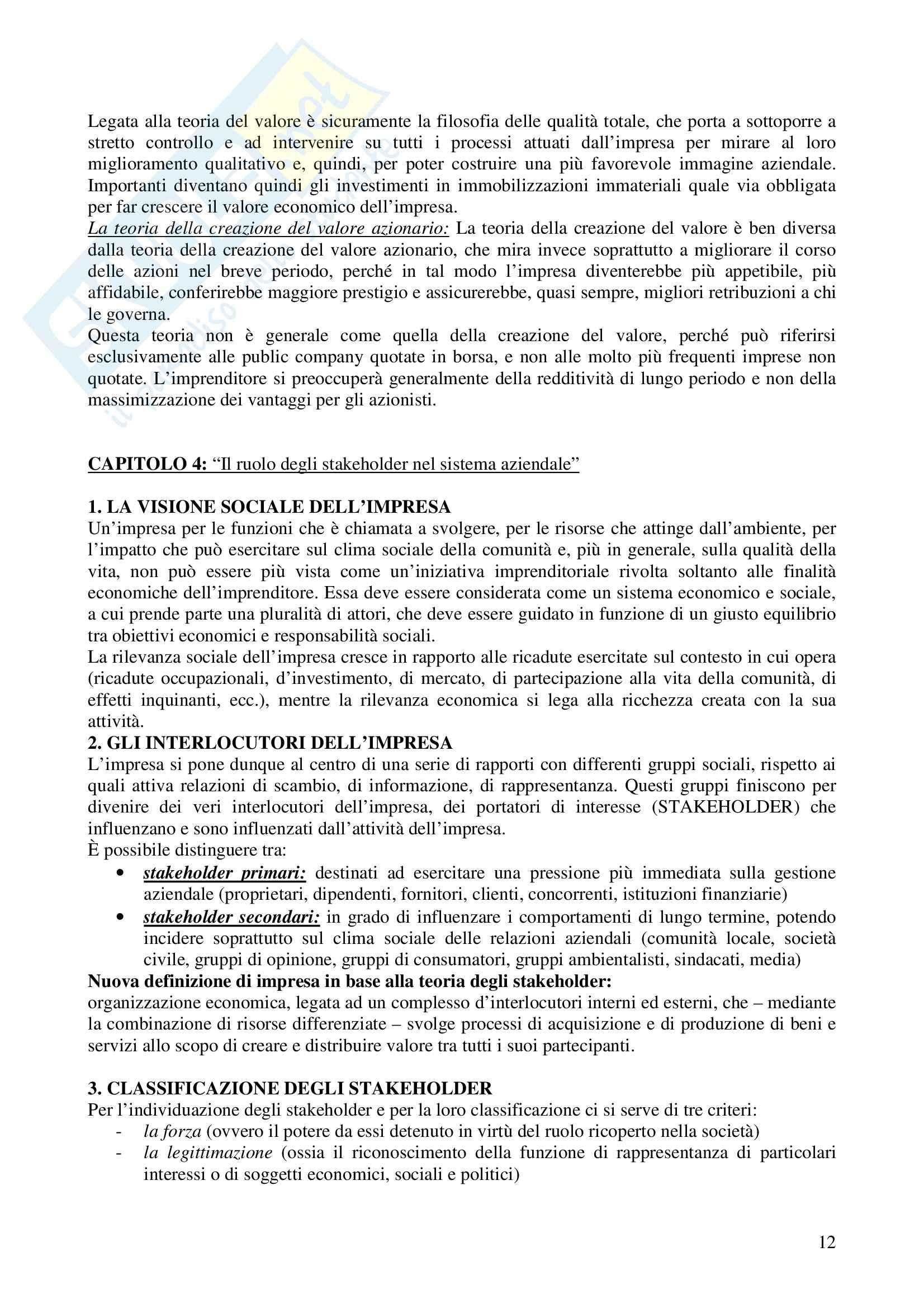 Riassunto esame Economia e gestione delle imprese, prof. Calza, libro consigliato Fondamenti di economia e gestione delle imprese, Sciarelli Pag. 11