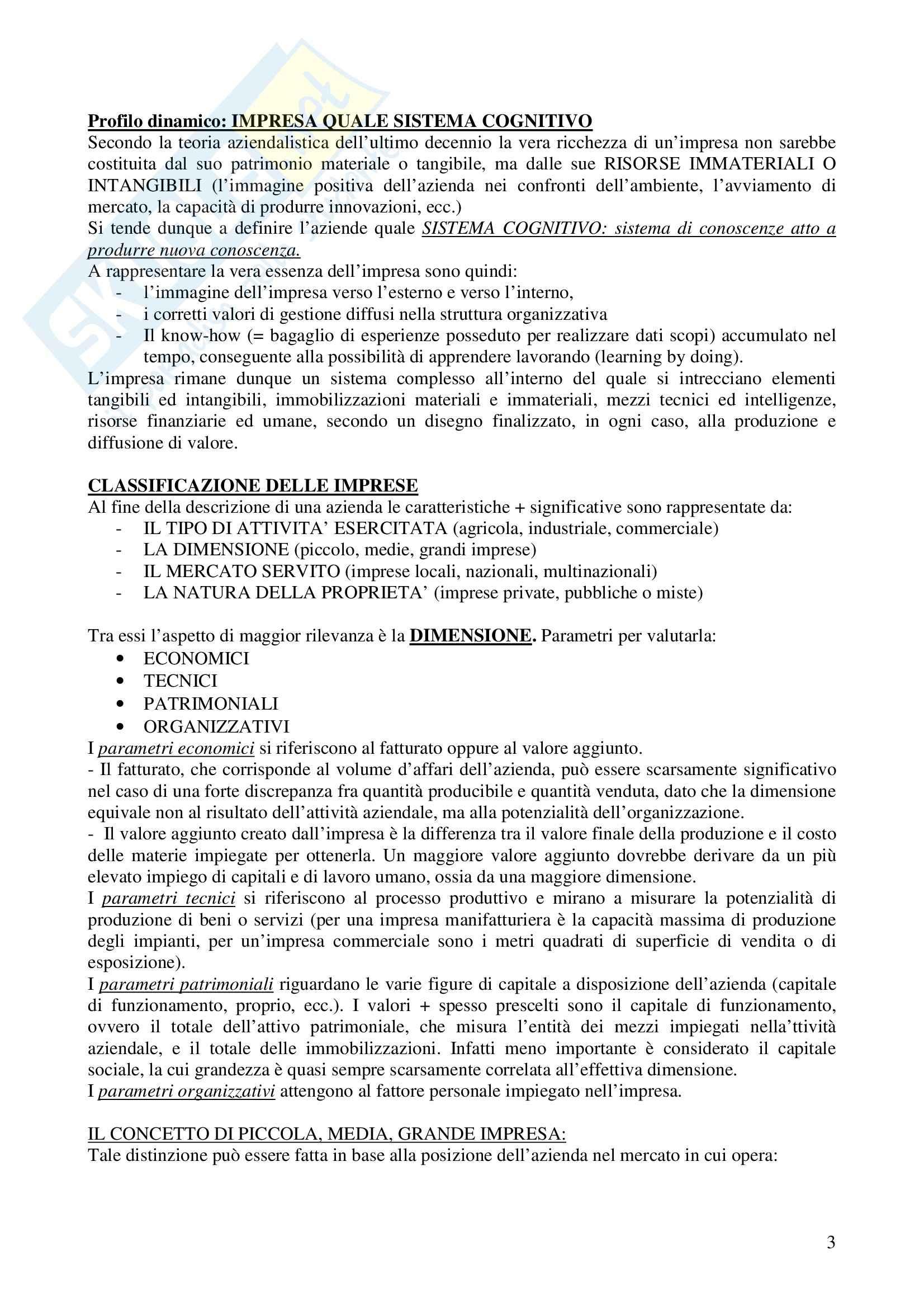 Riassunto esame Economia e gestione delle imprese, prof. Calza, libro consigliato Fondamenti di economia e gestione delle imprese, Sciarelli Pag. 2