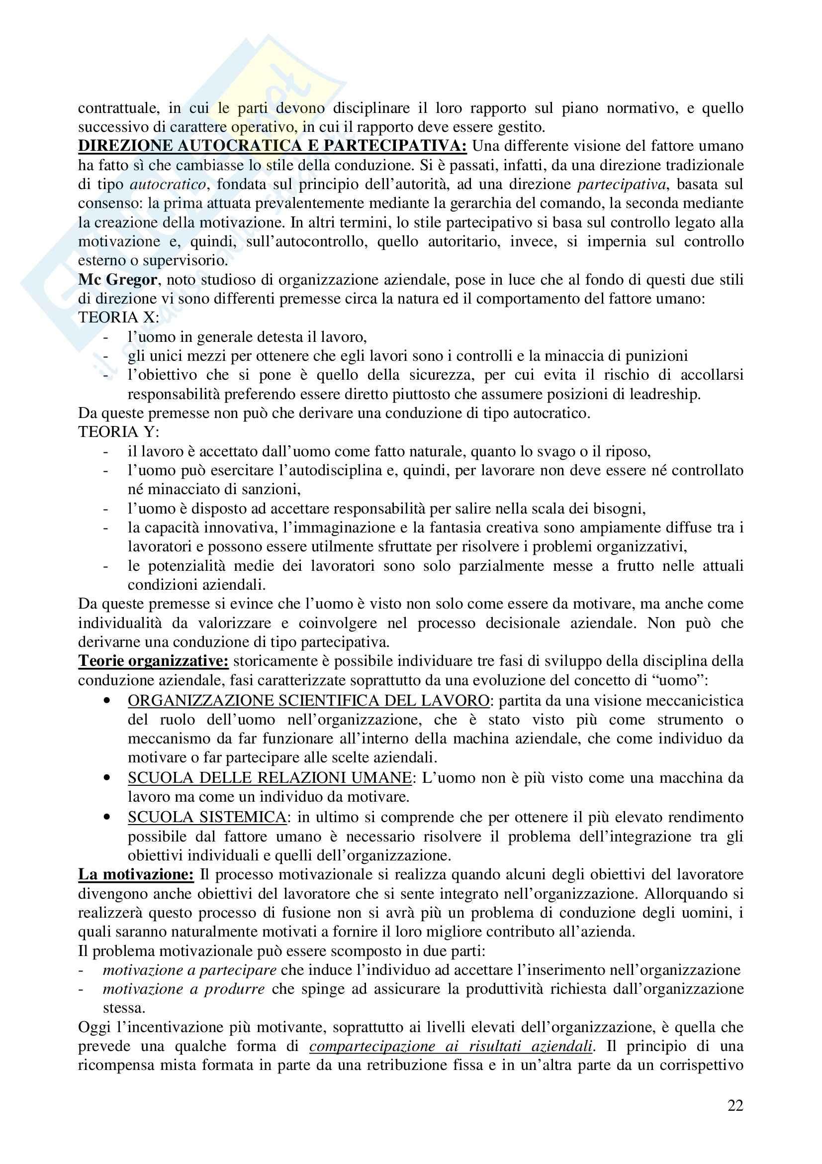 Riassunto esame Economia e gestione delle imprese, prof. Calza, libro consigliato Fondamenti di economia e gestione delle imprese, Sciarelli Pag. 21