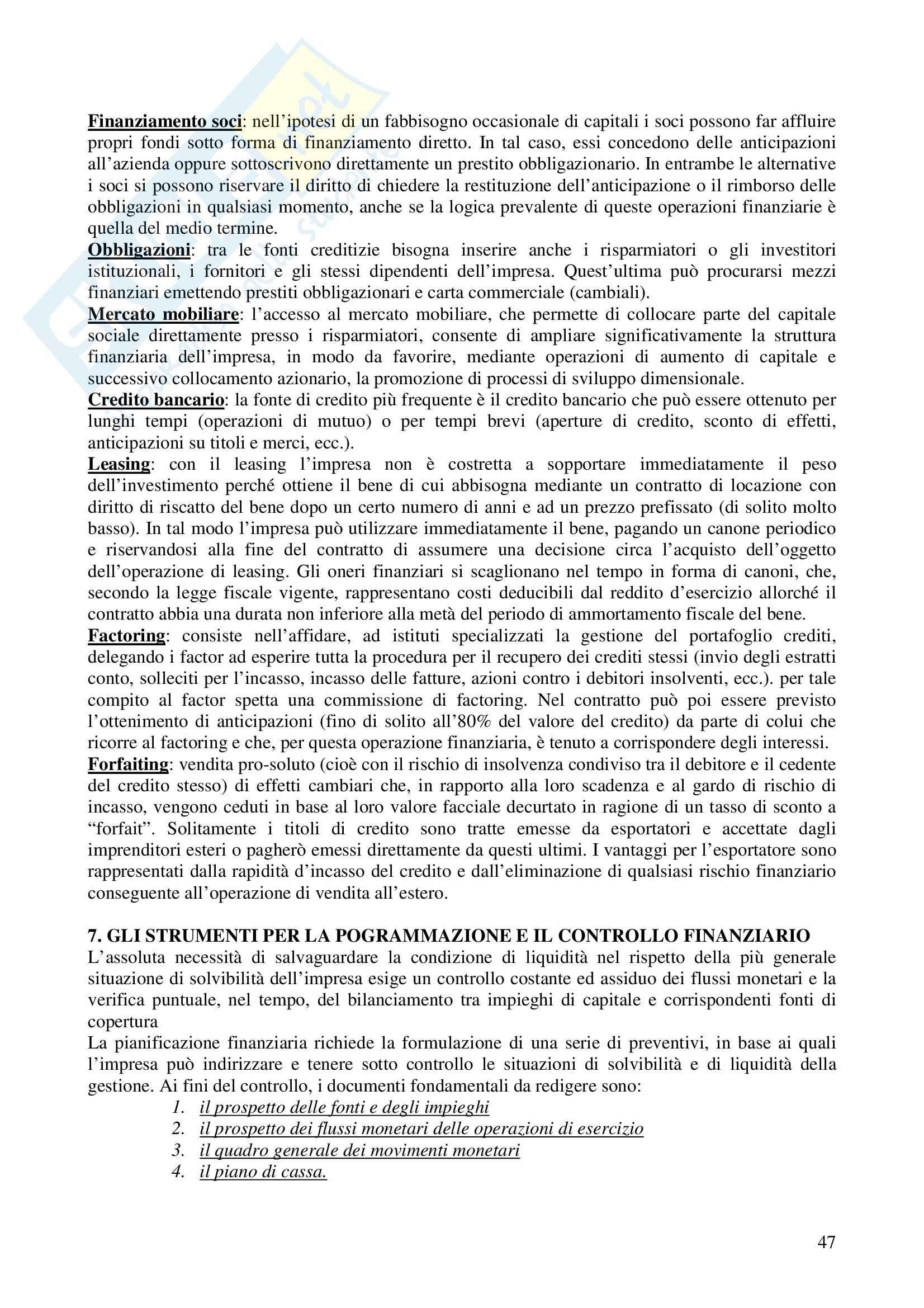 Riassunto esame Economia e gestione delle imprese, prof. Calza, libro consigliato Fondamenti di economia e gestione delle imprese, Sciarelli Pag. 46