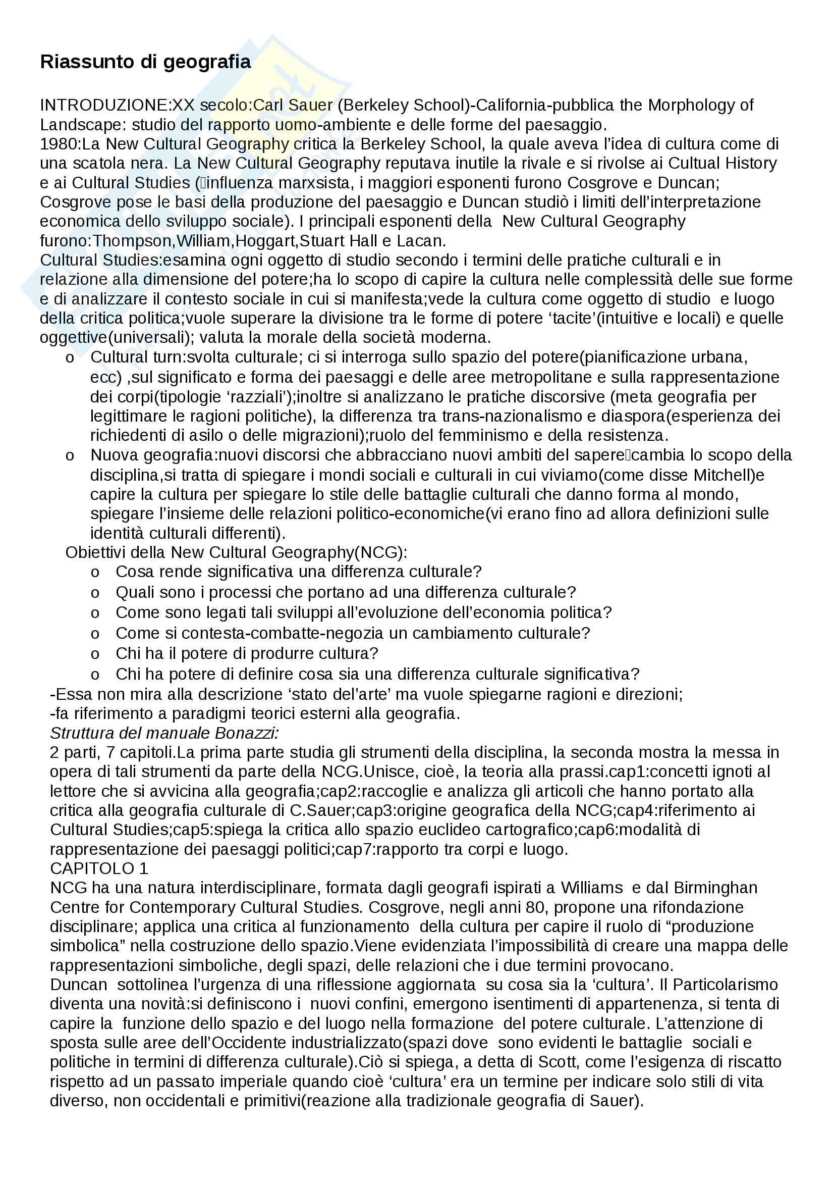 Riassunto esame Geografia sociale e culturale, prof. Amato, libro consigliato Manuale di geografia culturale, Bonazzi