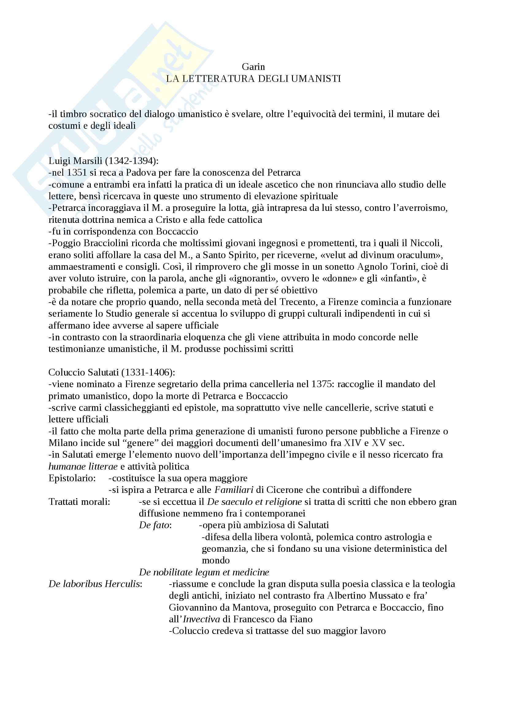 Riassunto esame Filologia medievale e umanistica, prof. Albanese, libro consigliato La letteratura degli umanisti, Eugenio Garin