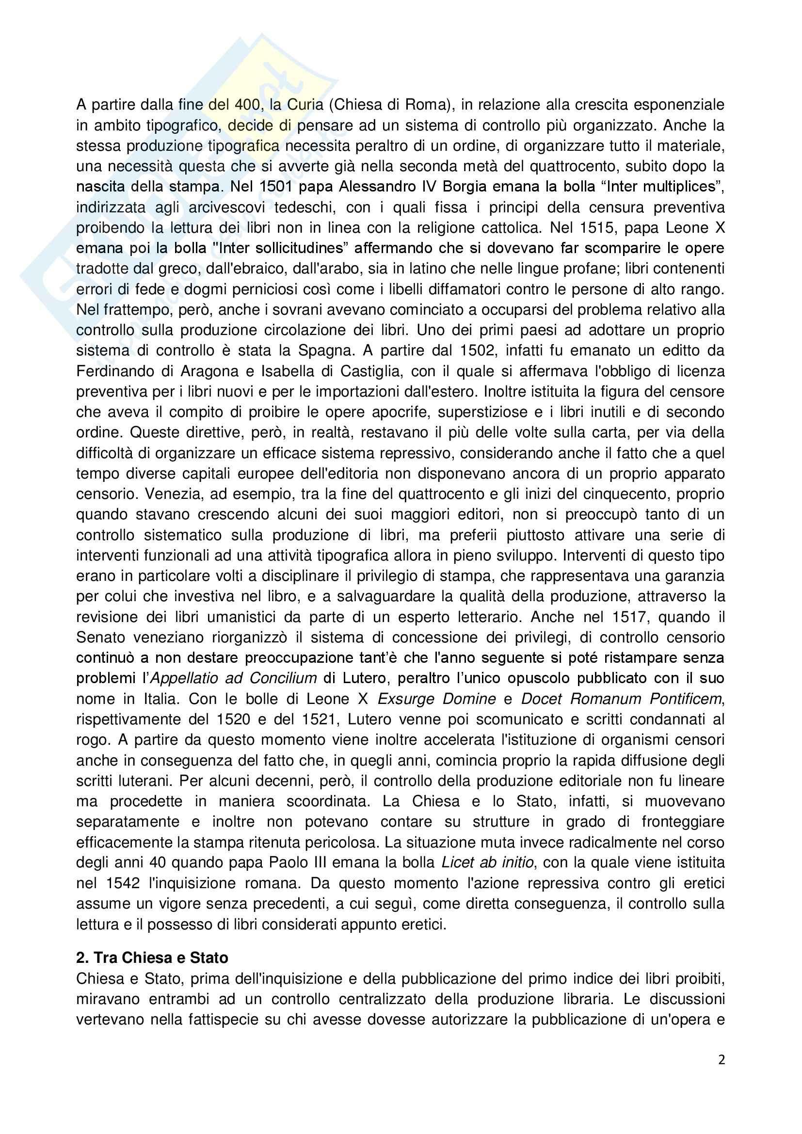 Riassunto esame Storia dell'Opinione Pubblica, prof. Carbone, libro consigliato Libri Proibiti da Gutemberg all'Encyclopèdie, Infelise Pag. 2