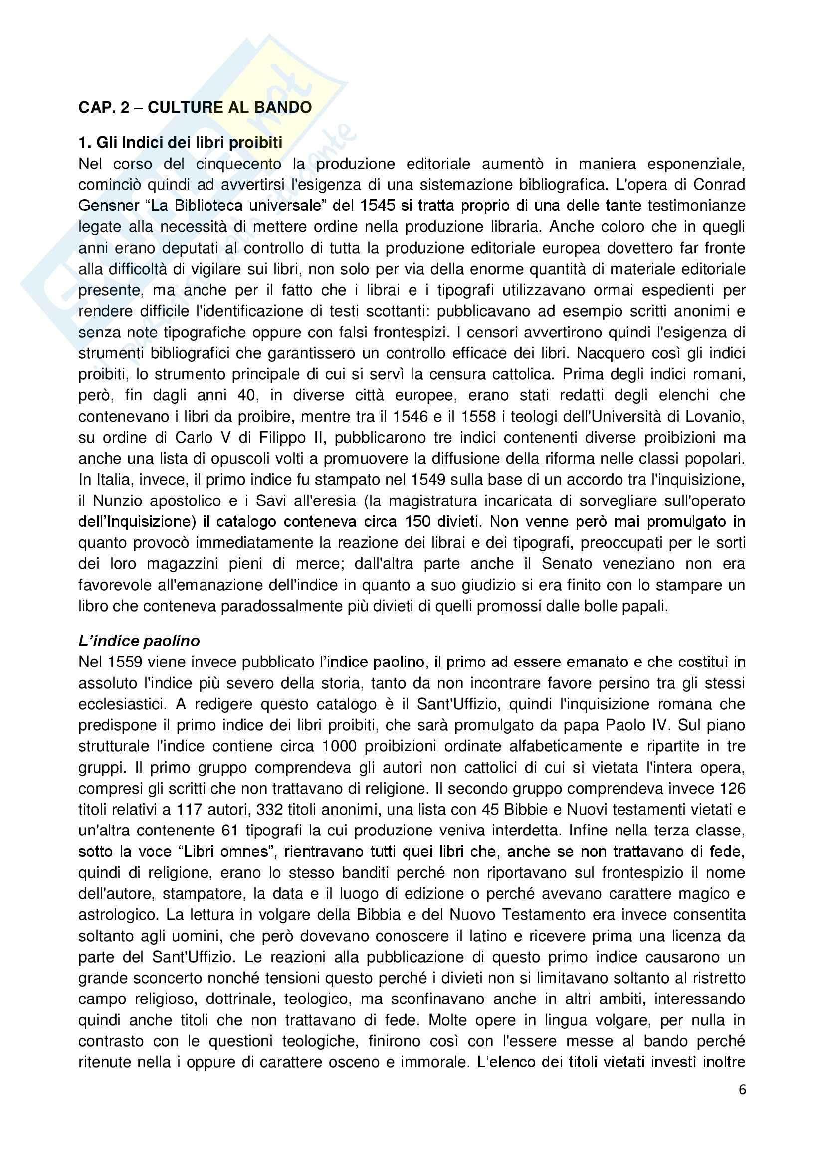 Riassunto esame Storia dell'Opinione Pubblica, prof. Carbone, libro consigliato Libri Proibiti da Gutemberg all'Encyclopèdie, Infelise Pag. 6