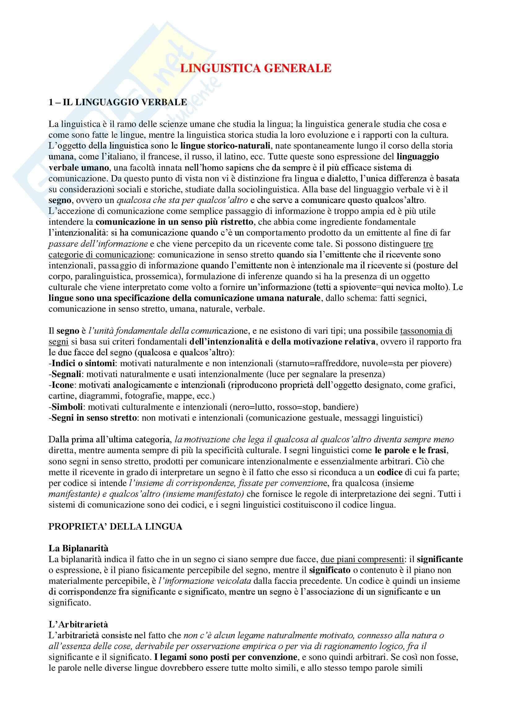 Riassunto esame Linguistica, prof. Dini, libro consigliato La Linguistica- Un corso introduttivo, Berruto, Cerruti