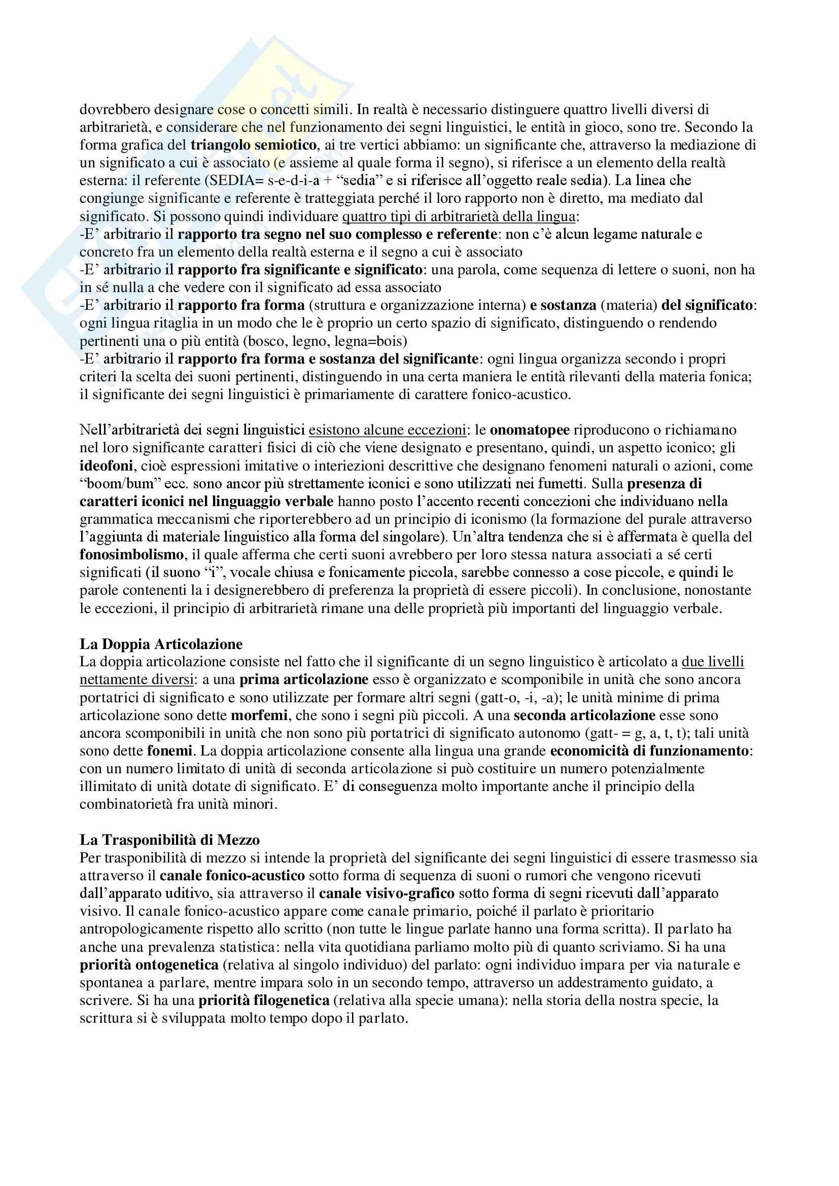 Riassunto esame Linguistica, prof. Dini, libro consigliato La Linguistica- Un corso introduttivo, Berruto, Cerruti Pag. 2