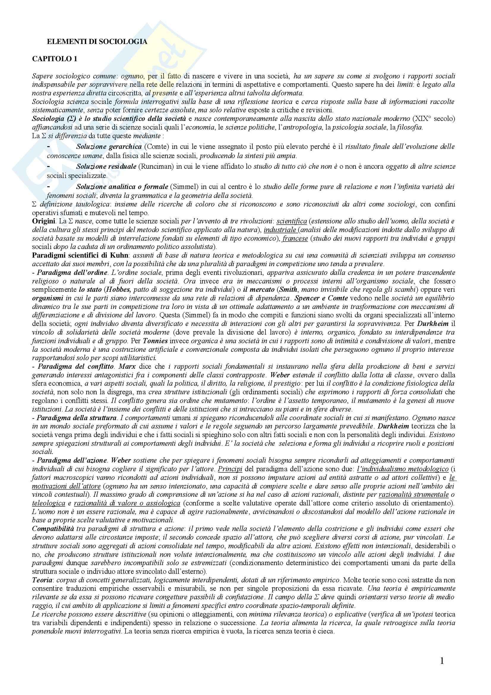 Sociologia generale – Elementi