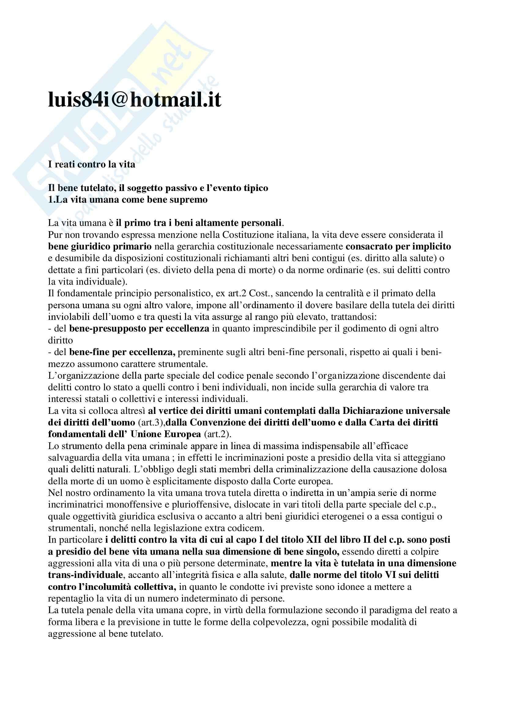 Riassunto esame Diritto Penale, prof. Fiorella, libro consigliato Questioni Fondamentali della Parte Speciale del Diritto Penale