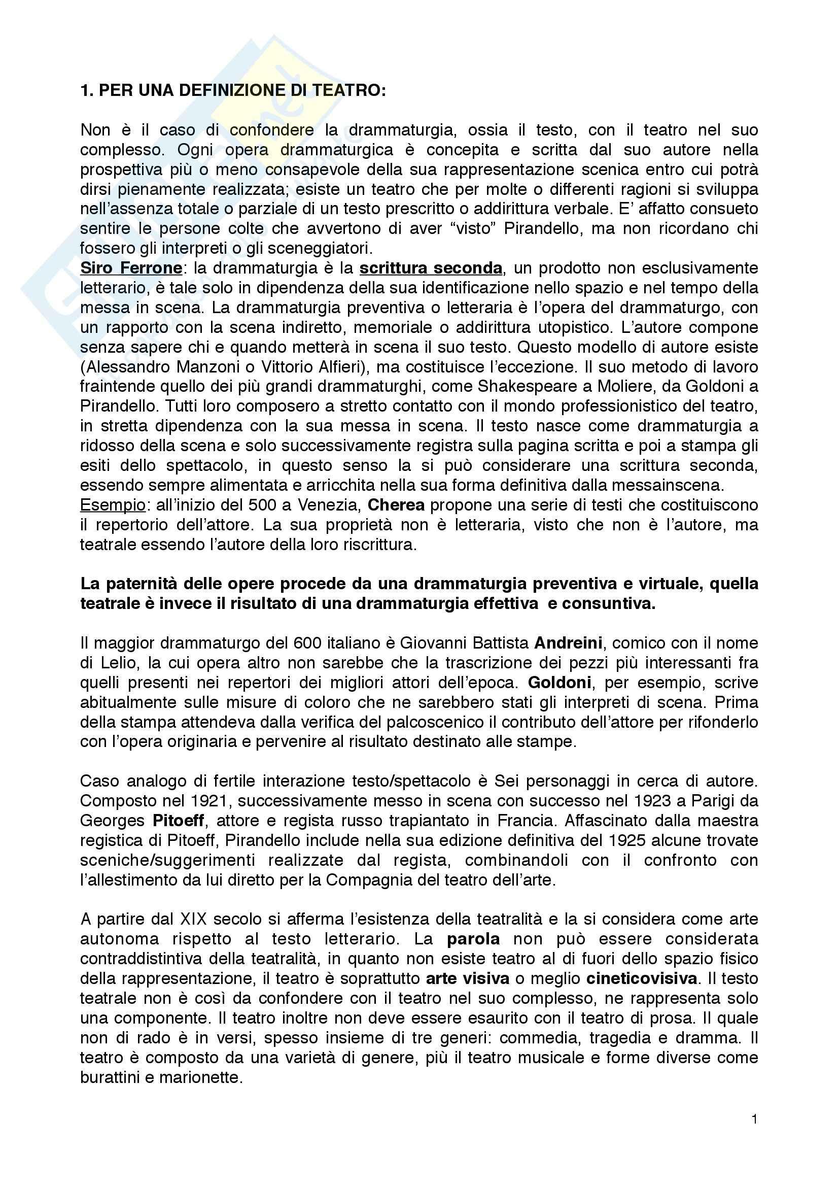 Riassunto esame Fondamenti di teatro, prof. Garavaglia, libro consigliato Teatro e spettacolo nella società multimediale, Garavaglia