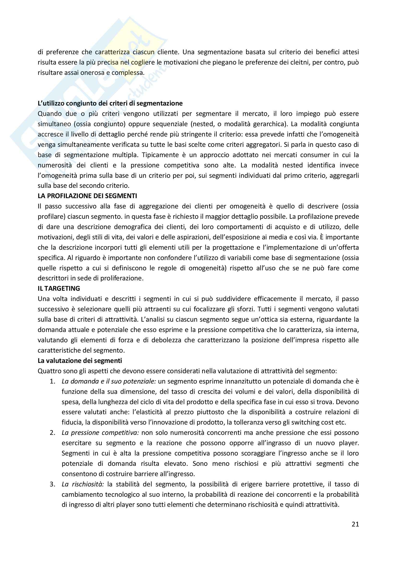 Riassunto esame Marketing, prof. Valdani, libro consigliato M@rketing Management Pag. 21