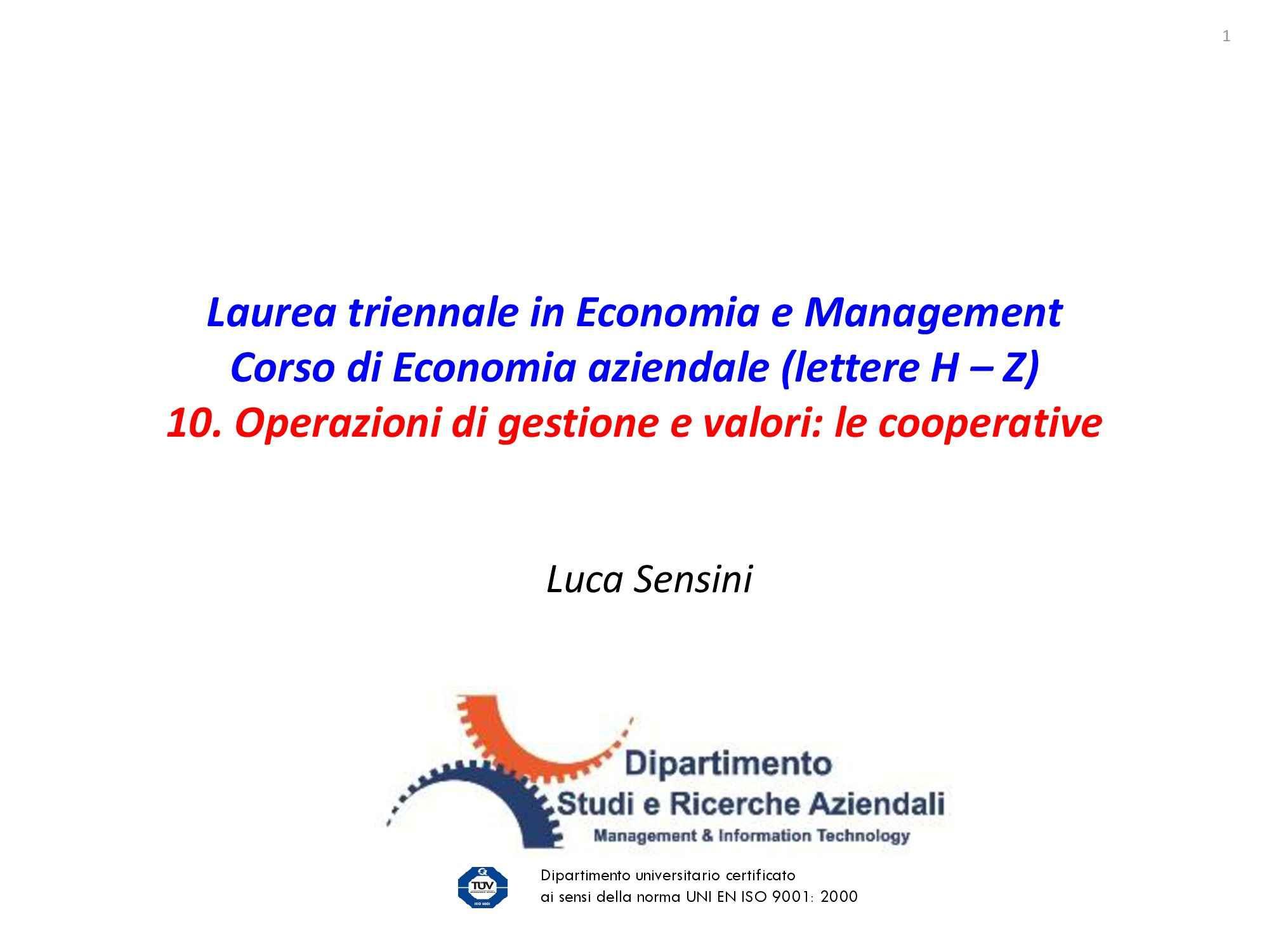 Dispensa di Economia aziendale - cooperative