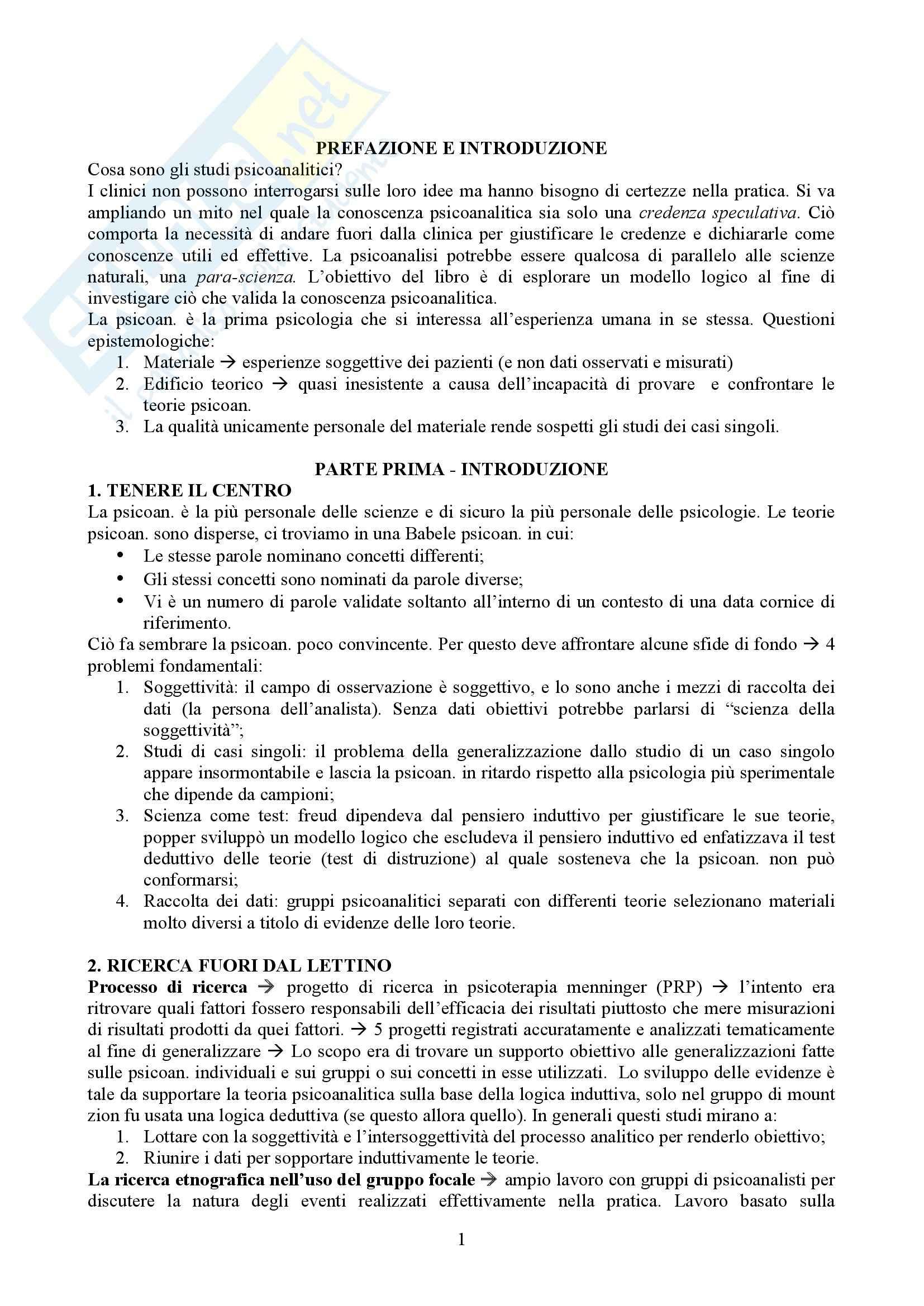 Riassunto esame Psicologia clinica, prof. Marinelli, libro consigliato Ricerca nel setting, Studi sul singolo caso, Hinshelwood