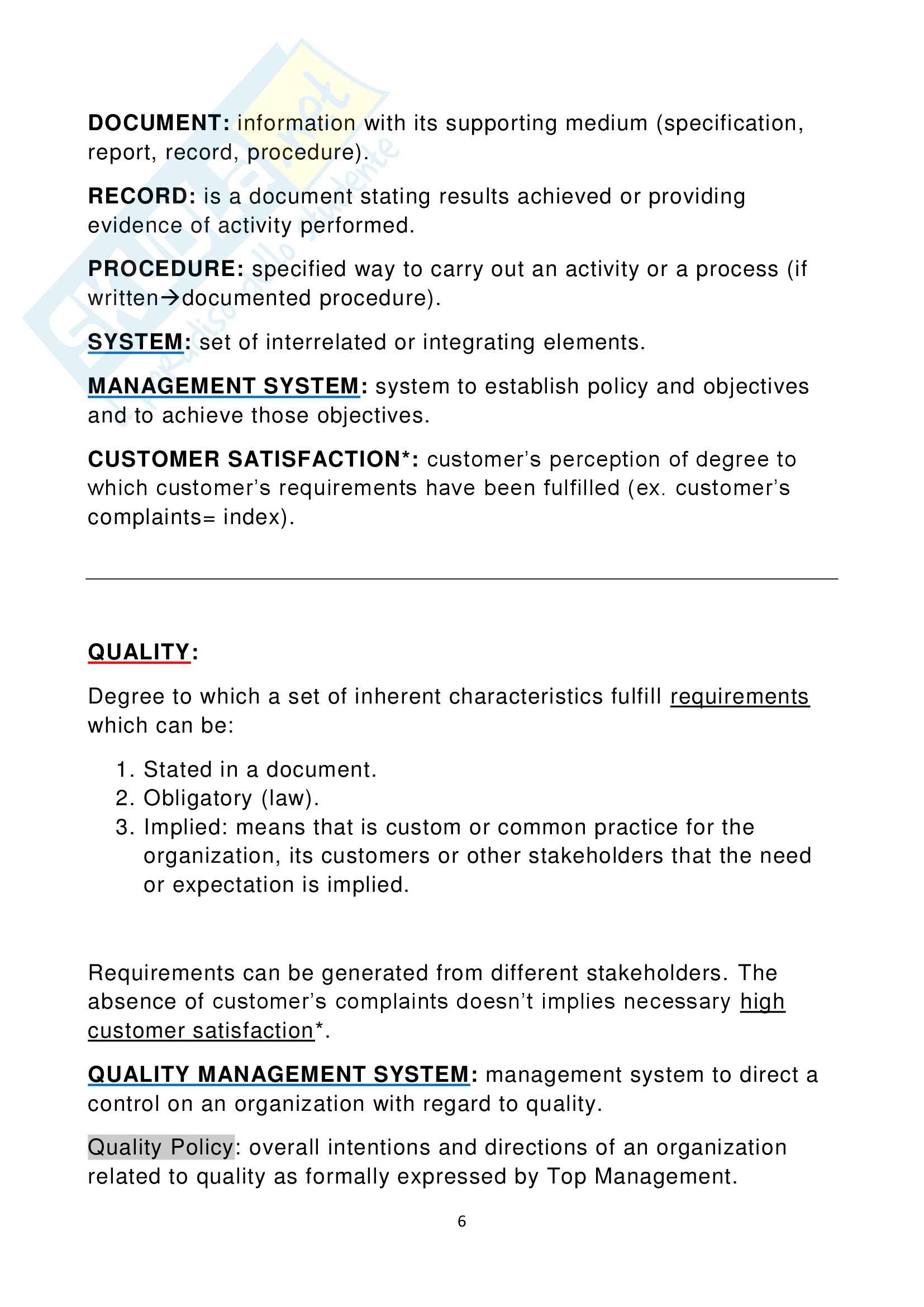 Operations Management (Prof. Bechis) Pag. 6