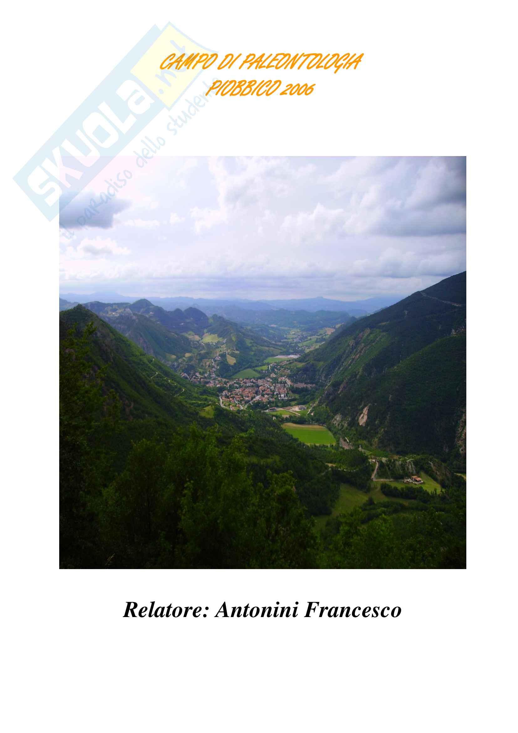 Relazione geologica e paleontologica di Piobbico Pag. 1