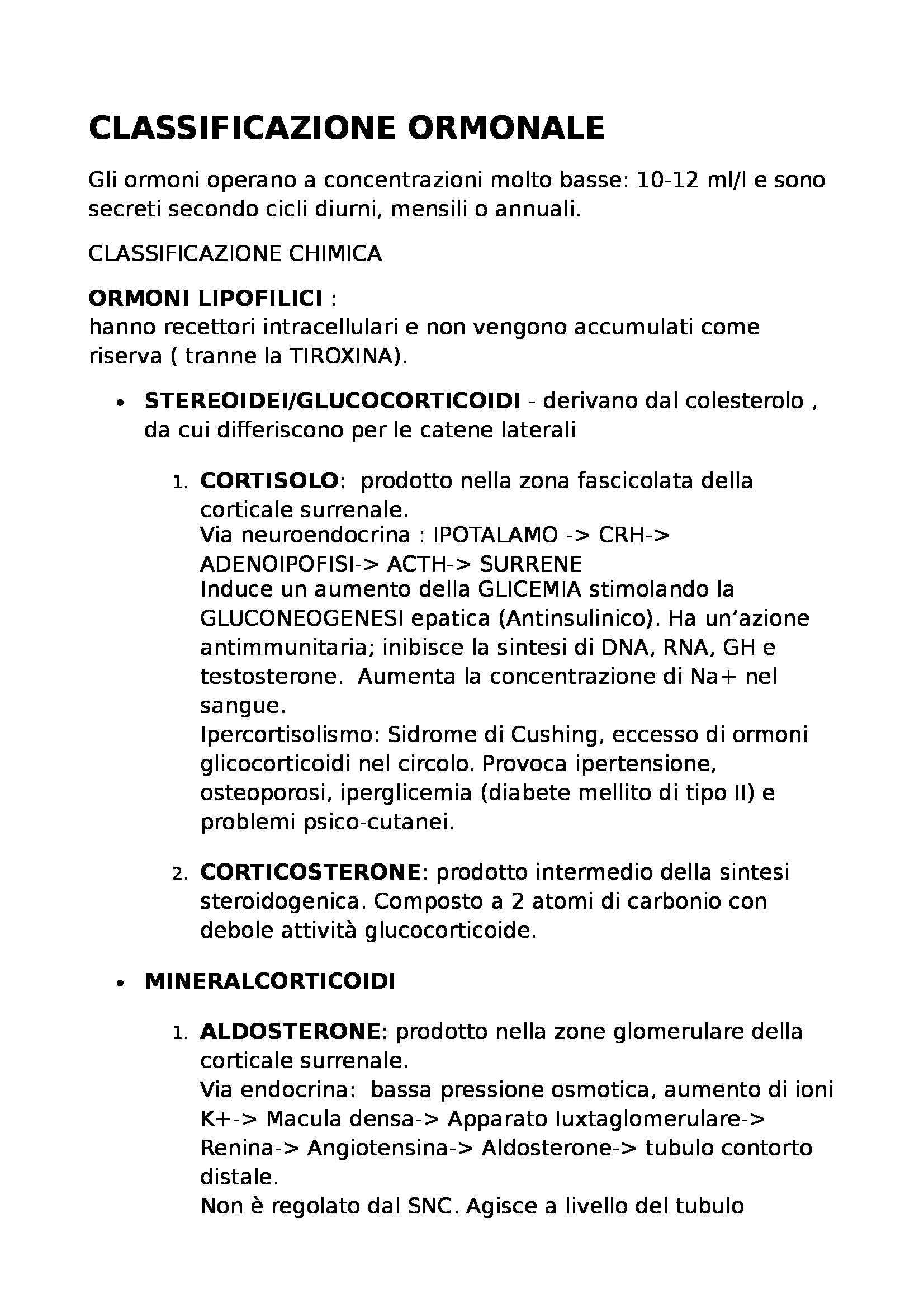 Fisiologia - classificazione degli ormoni dei test medicina