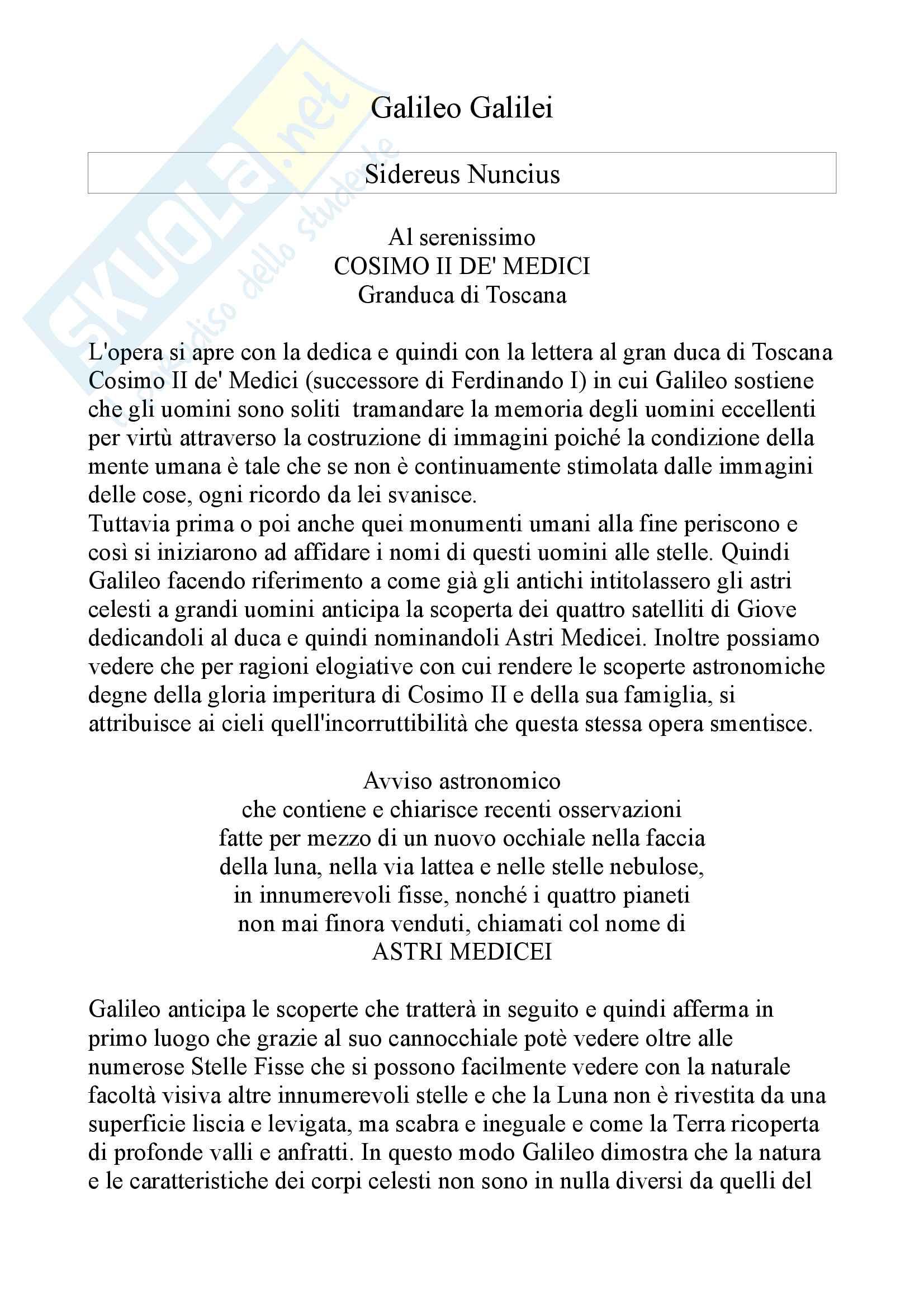 Riassunto Esame Letteratura Italiana Secoli XVII-XIX, docente Attilio Bettinzoli, libro consigliato Sidereus Nuncius di Galileo Galilei