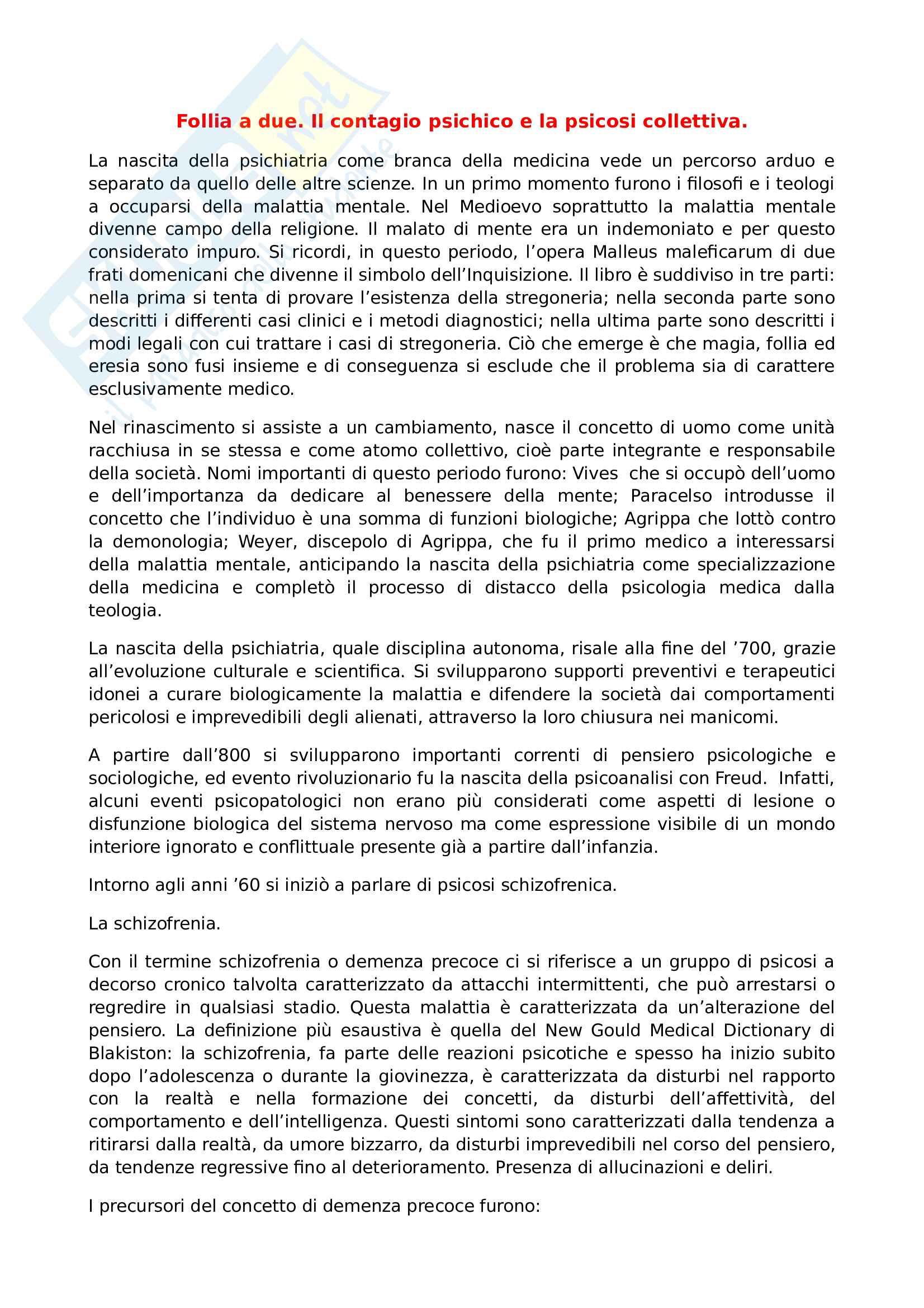 Riassunto esame psicologia dinamica, prof. Saraceno, libro consigliato Follia a due, Saraceno e Santanocito